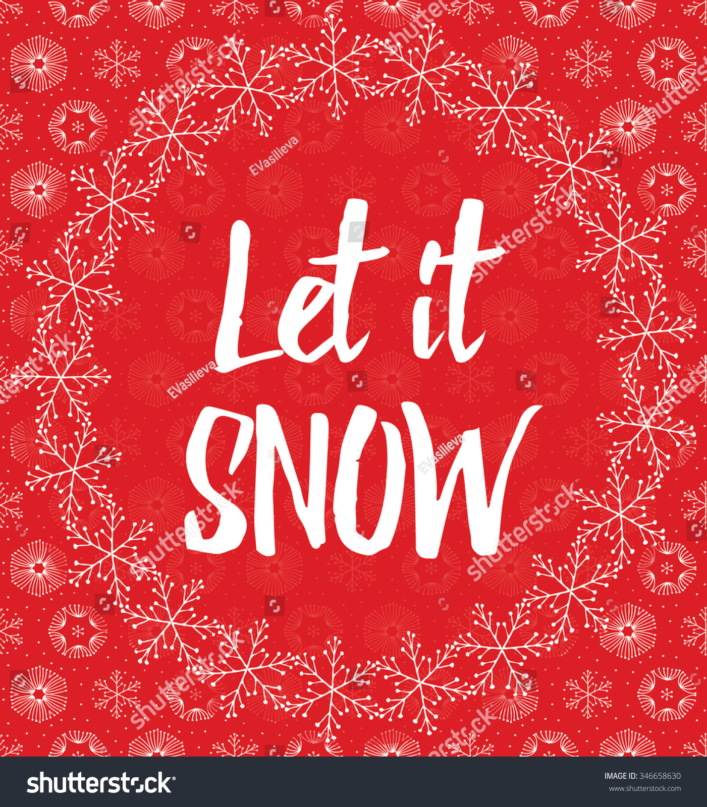 Let snow letters covered snowflakes on stock vector 346658630 let it snow letters covered with snowflakes on red snowy background madrichimfo Images