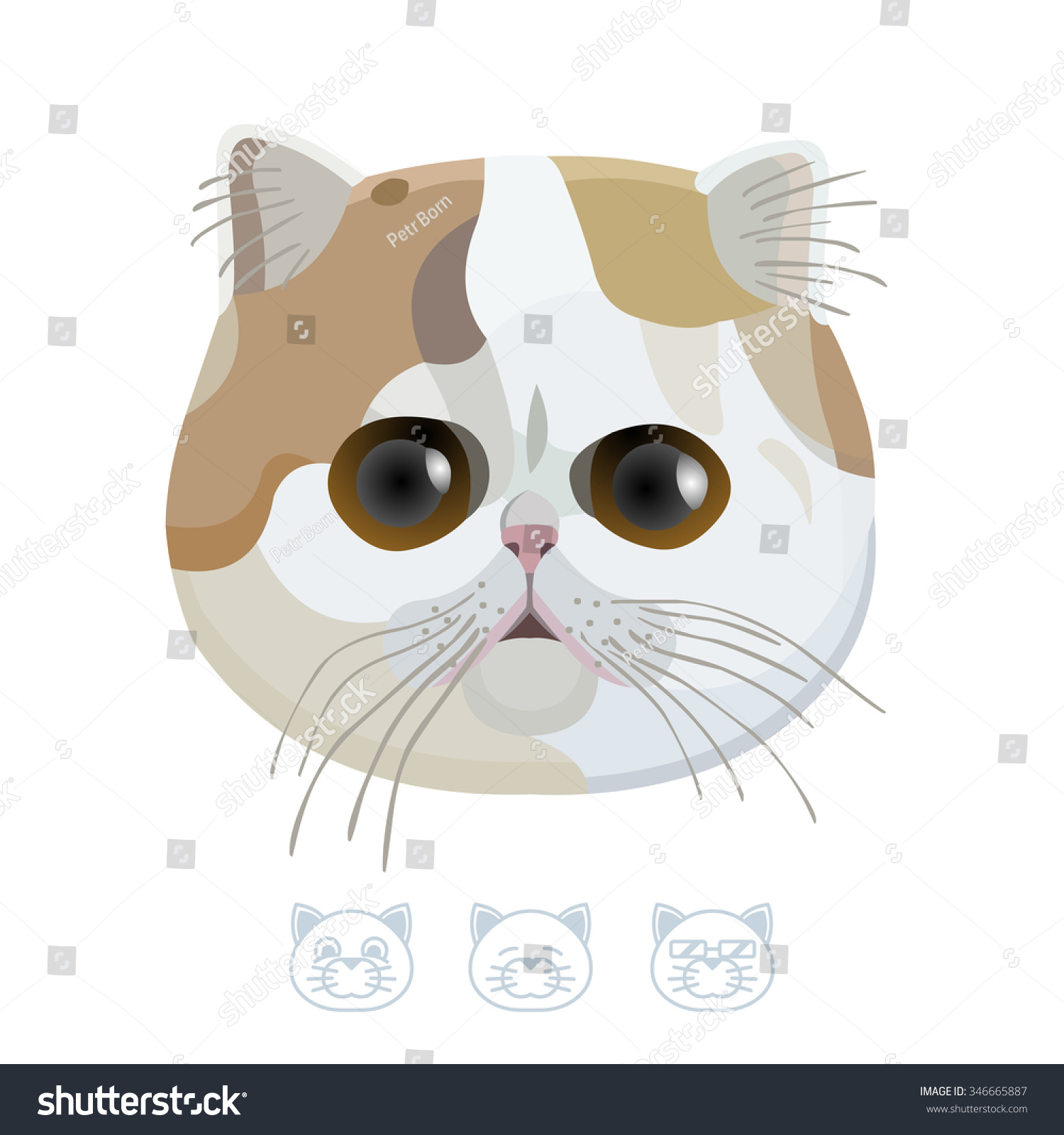 Cute Cat With Big Eyes. Cartoon Portrait. Vector ...