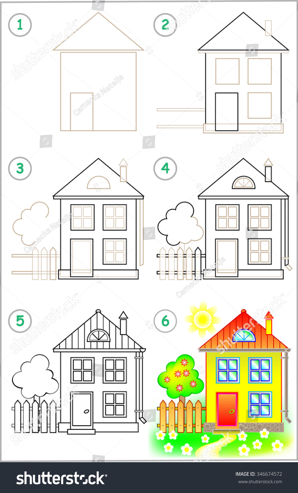 Page shows how learn step by stock vector 346674572 for Draw your house