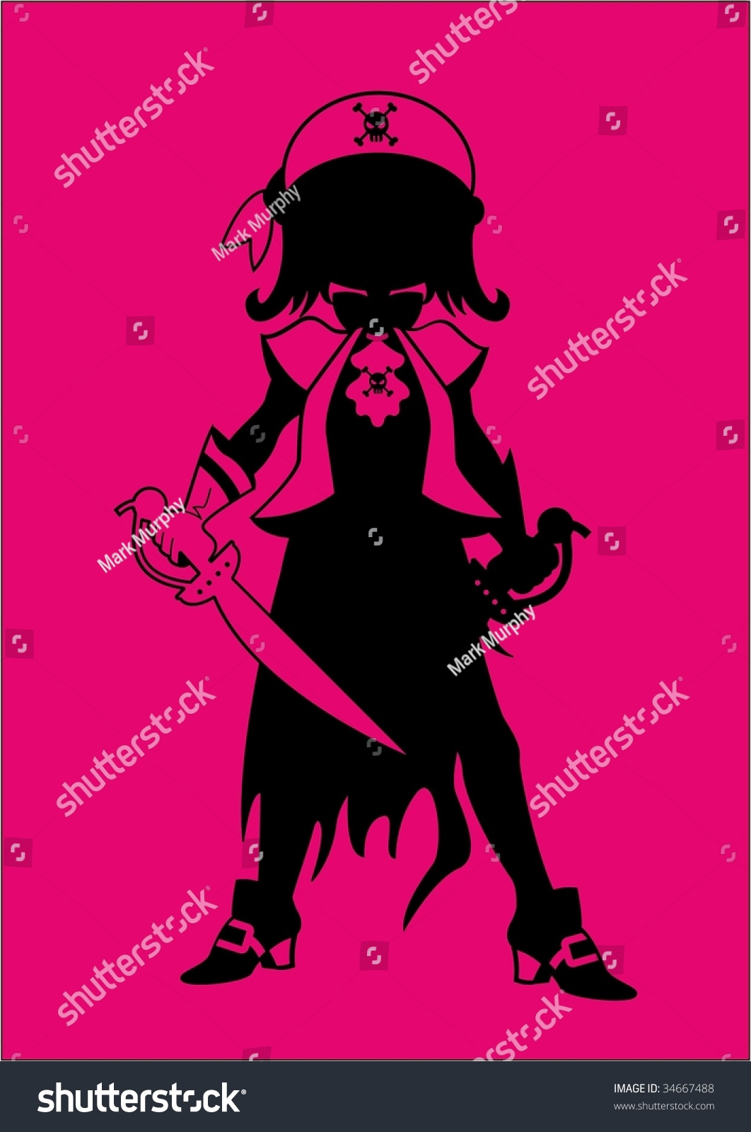 Pirate girl silhouette in hot pink