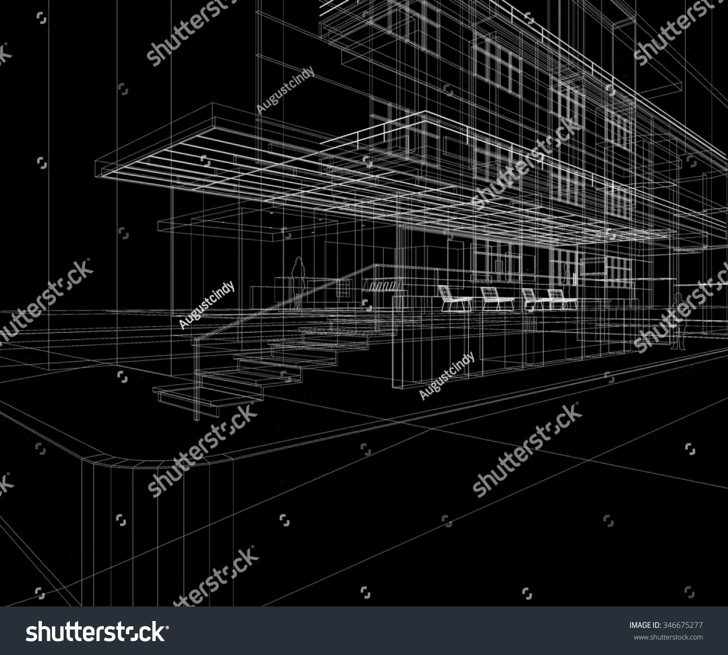 Building exterior perspective wire frame line stock for Exterior background