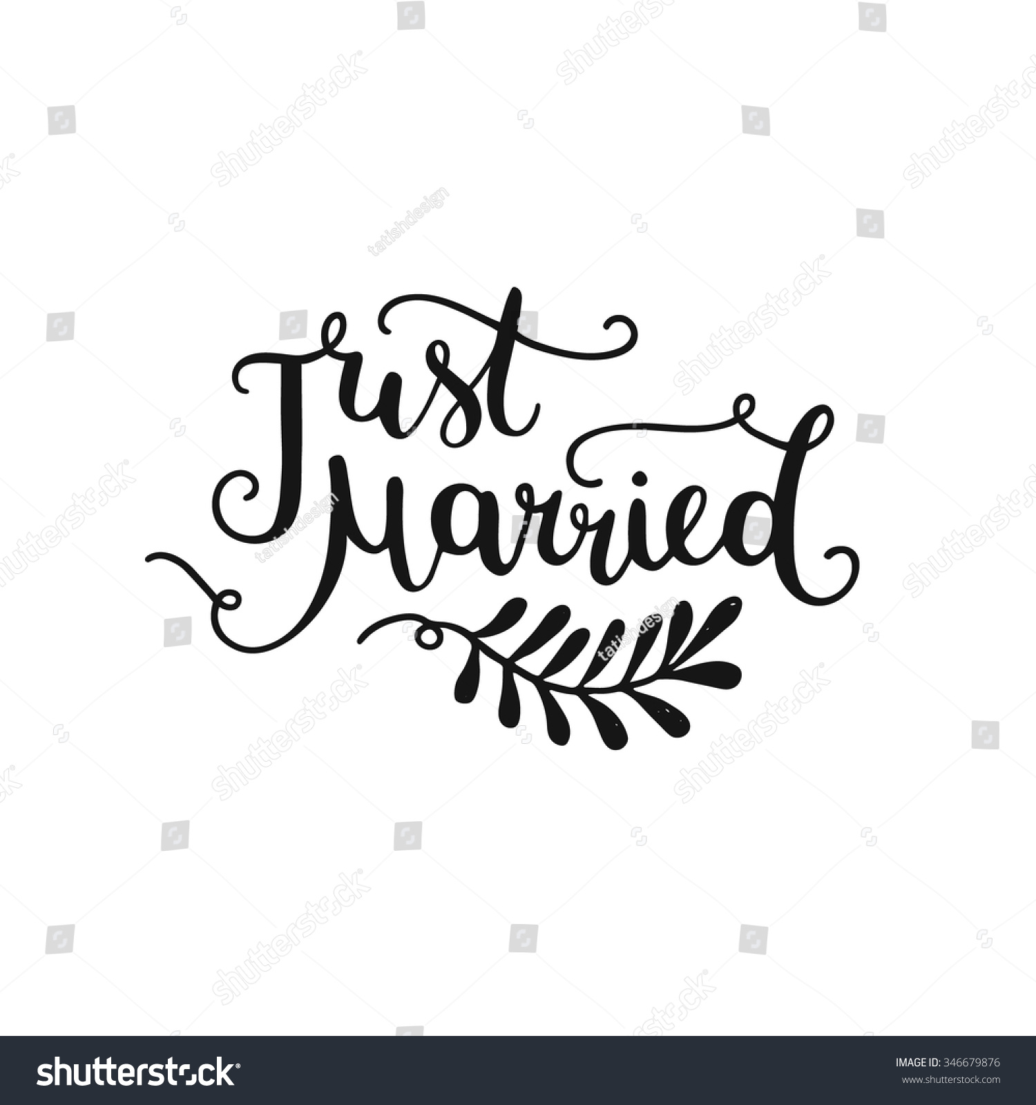 Just Married Hand Drawn Lettering Design Stock Vector