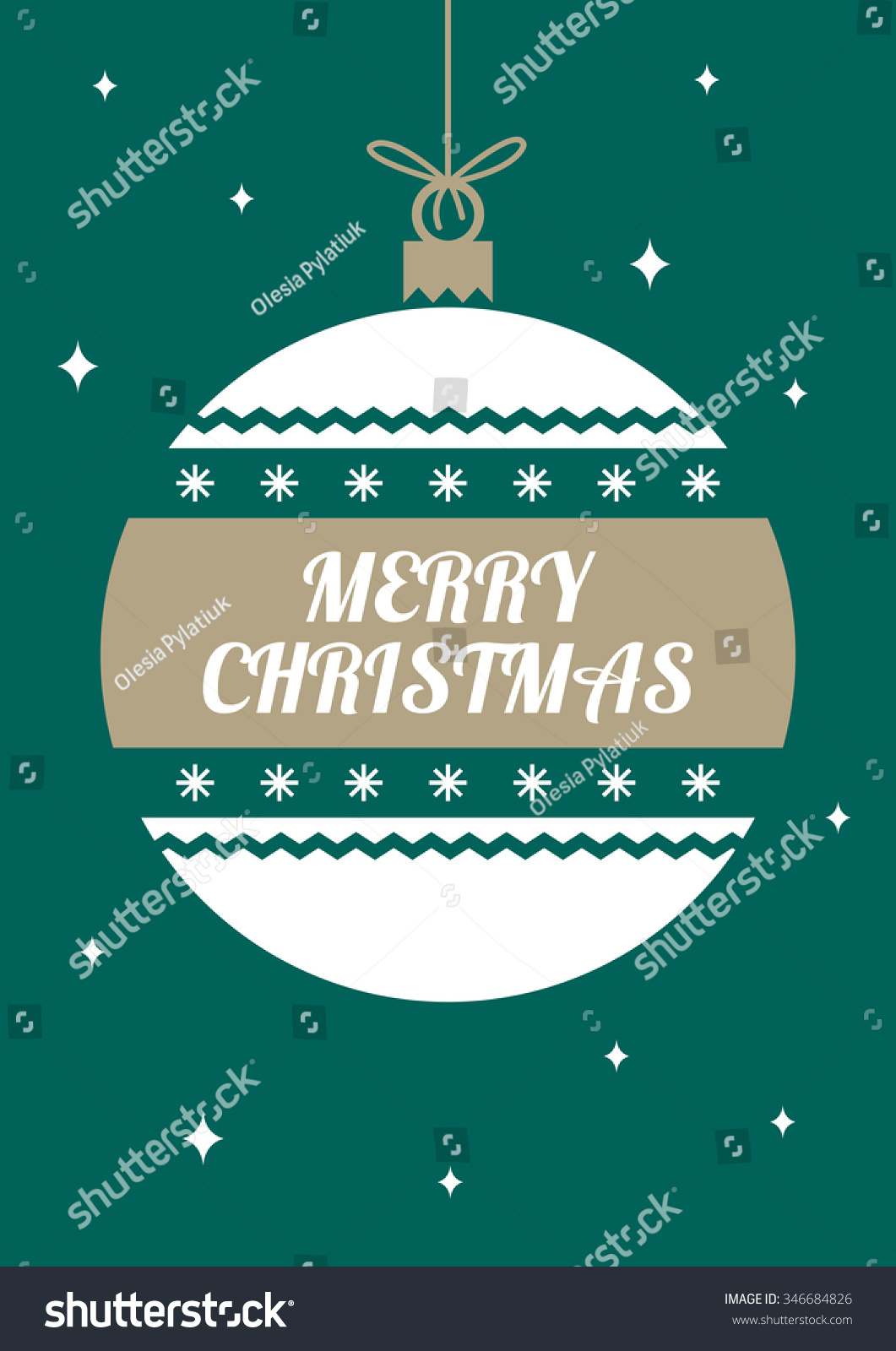 Merry Christmas Greeting Card Simple Holiday Card Stock Vector