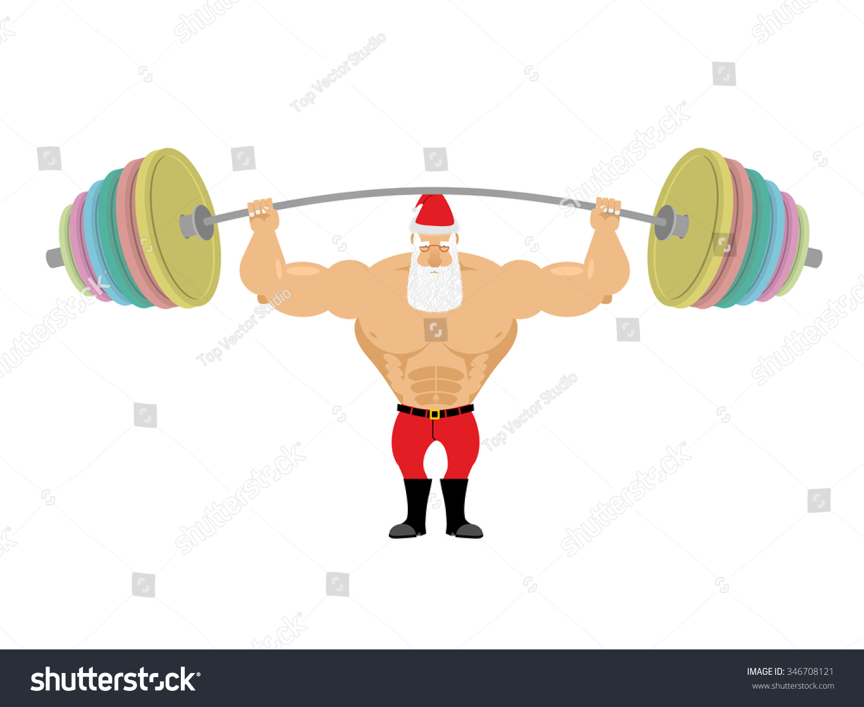 Santa claus and barbell bench press above his