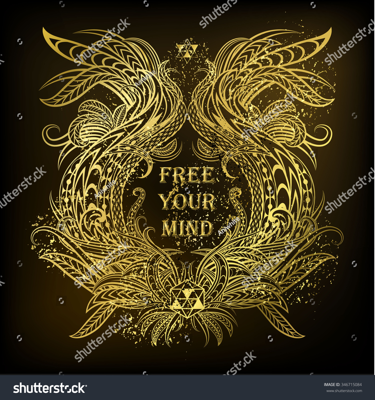 Free Your Mind Quotes Motivation Free Your Mind Golden Ethnic Stock Vector 346715084