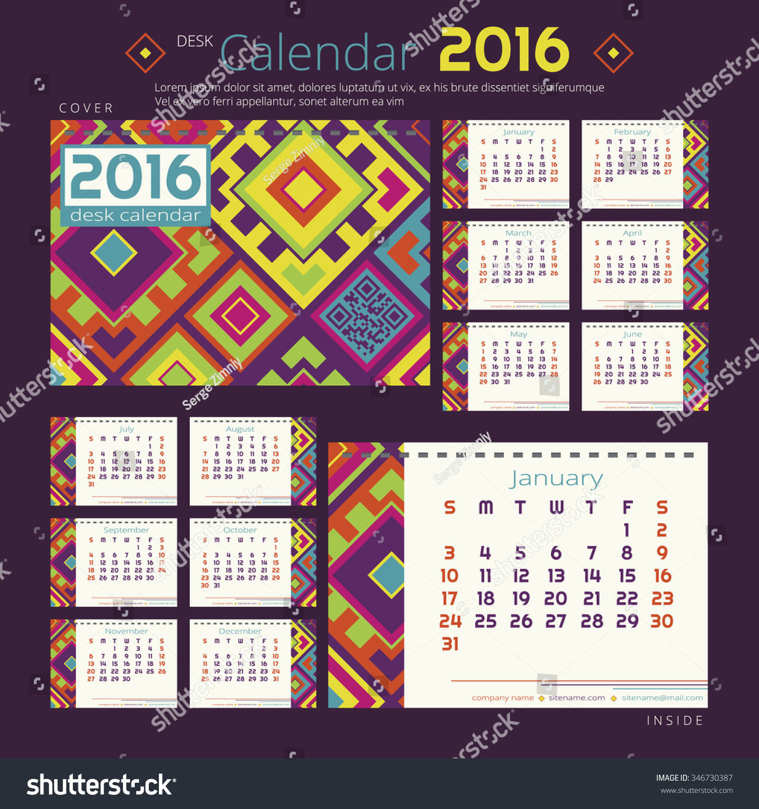 Desk calendar 2016 year with bright geometric design Vector template for 12 months with random