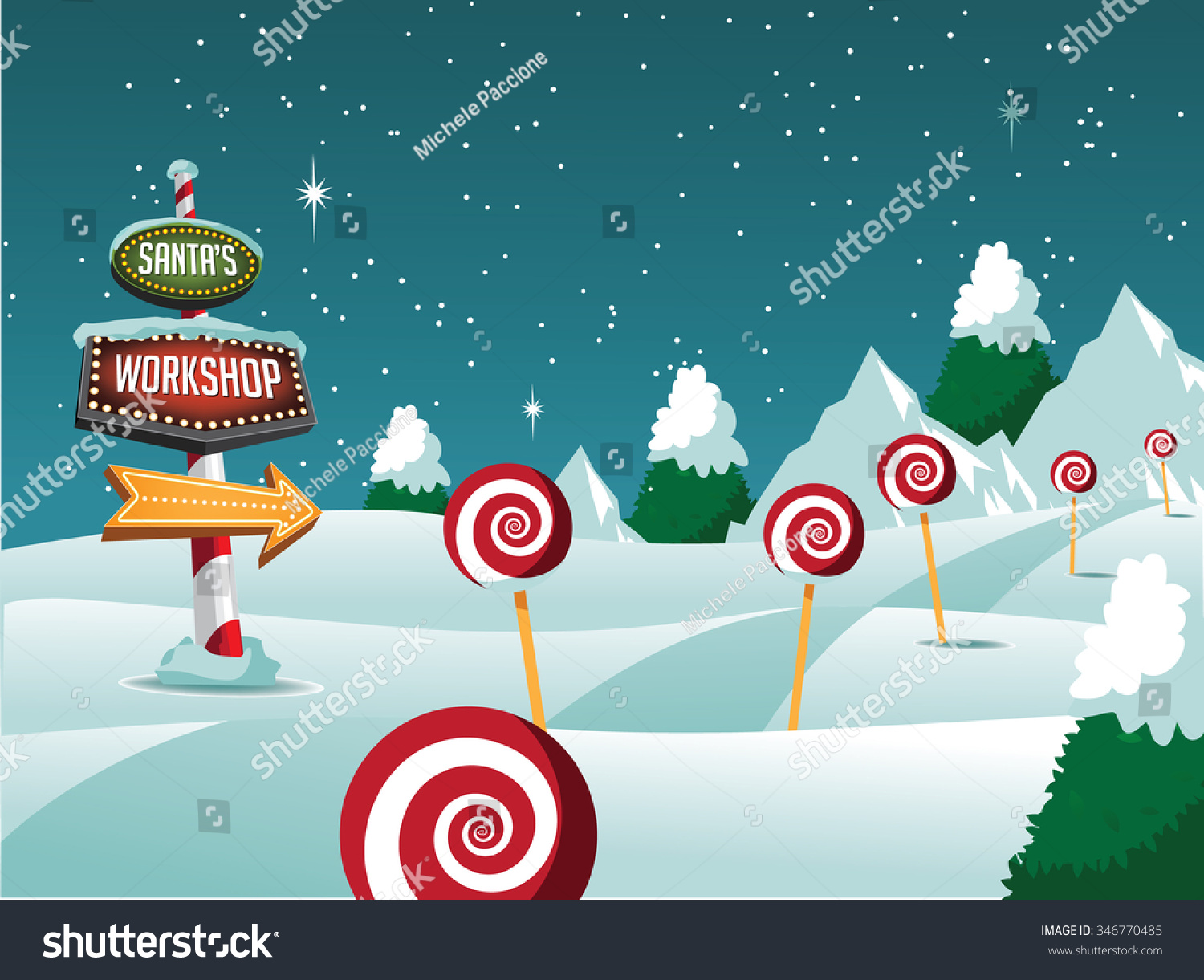 Merry Christmas North Pole Landscape Sign Stock Vector (Royalty Free ...