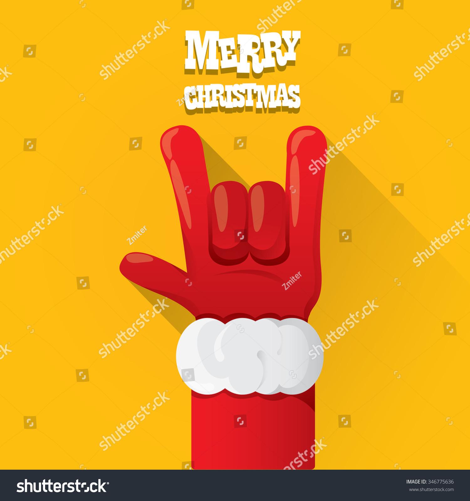 Rock n roll poster design - Santa Hand Rock N Roll Icon Vector Illustration Christmas Rock Concert Poster Design Template Or