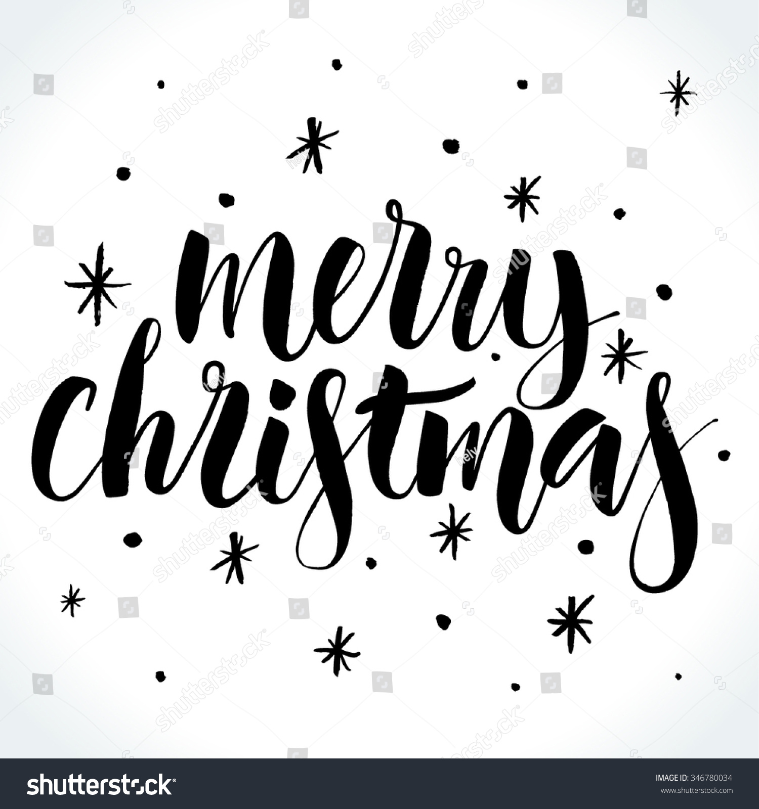 Merry Christmas Background With Modern Calligraphy And