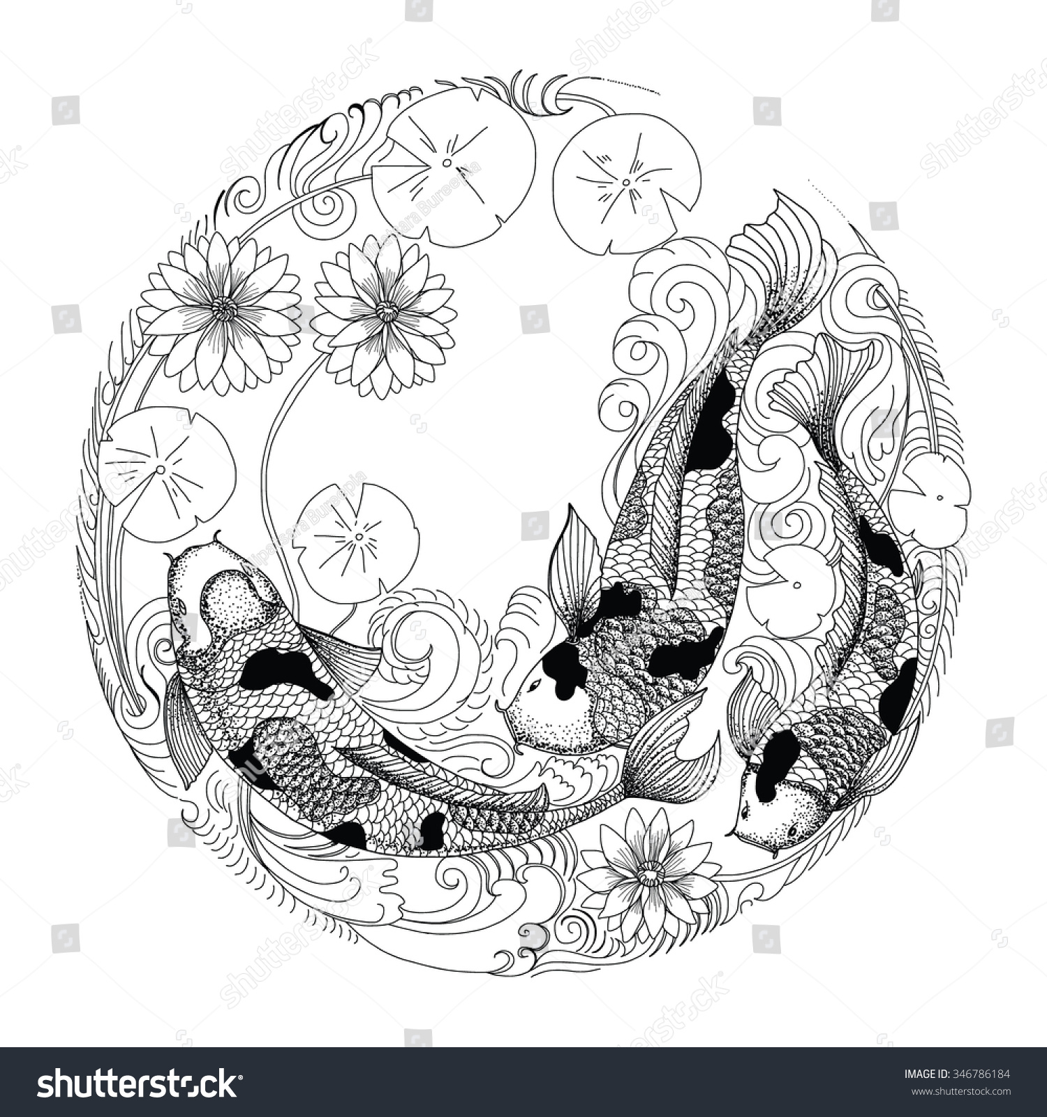 Hand Drawn Koi Fish In Circle Japanese Carp Line Drawing Coloring Book Vector Image