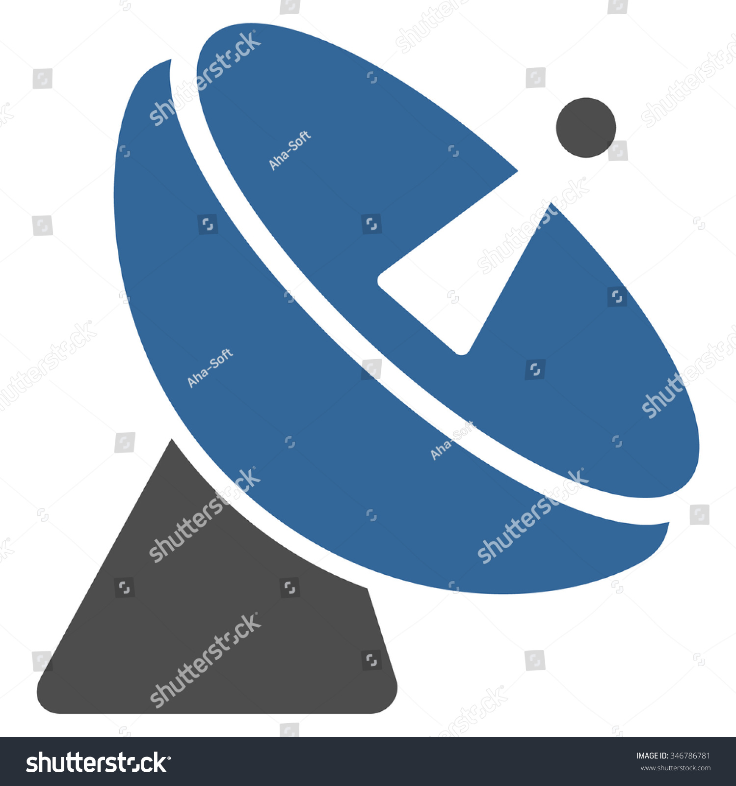 Radio Telescope Raster Icon Style Flat Stock Illustration 346786781 Diagram Is Bicolor Cobalt And Gray Symbol Rounded Angles