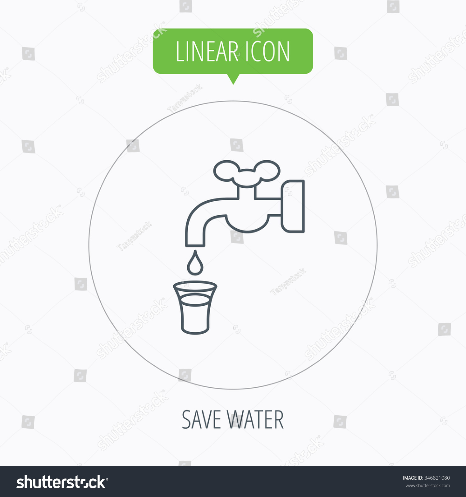 Save Water Icon Crane Faucet Drop Stock Illustration 346821080 ...