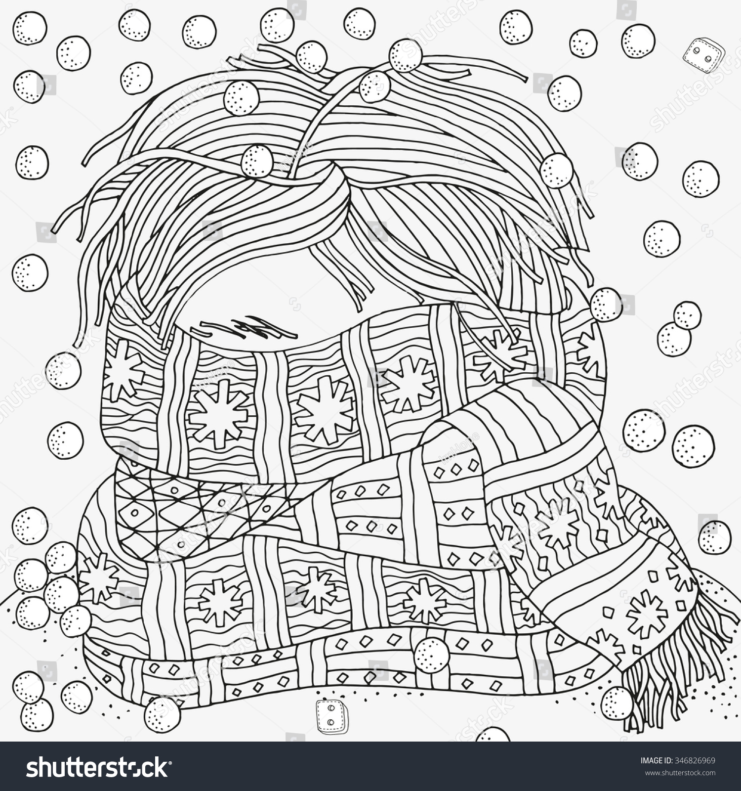 Boy With Warm Scarf. Winter, Cold, Snow. Pattern For ...
