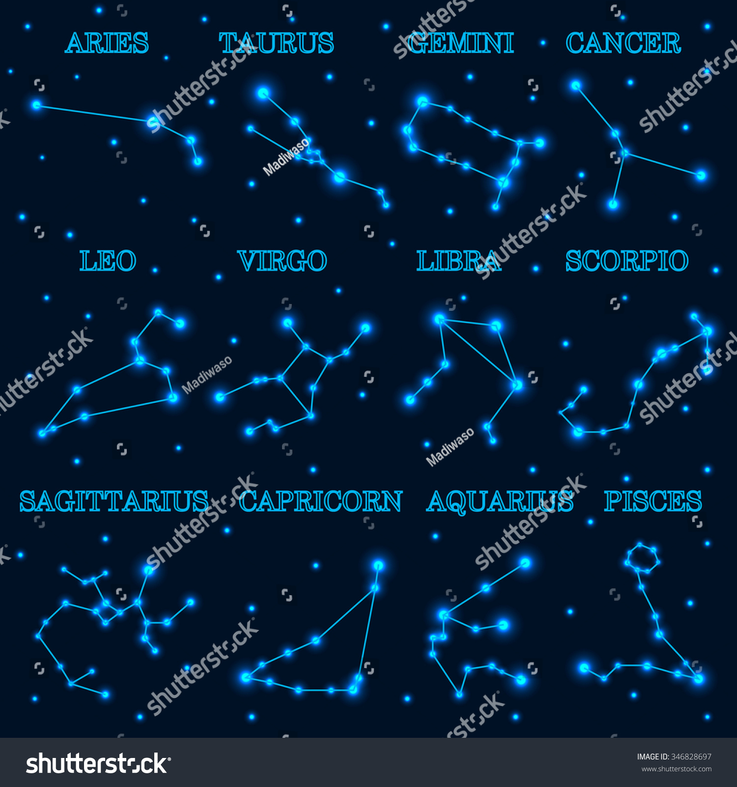Collection 12 Zodiac Constellations On Space Stock Vector