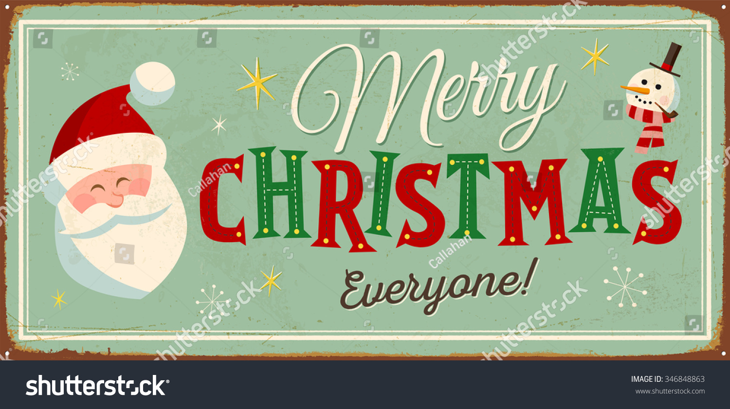 vintage metal sign merry christmas everyone vector eps10 grunge effects can be - Vintage Merry Christmas
