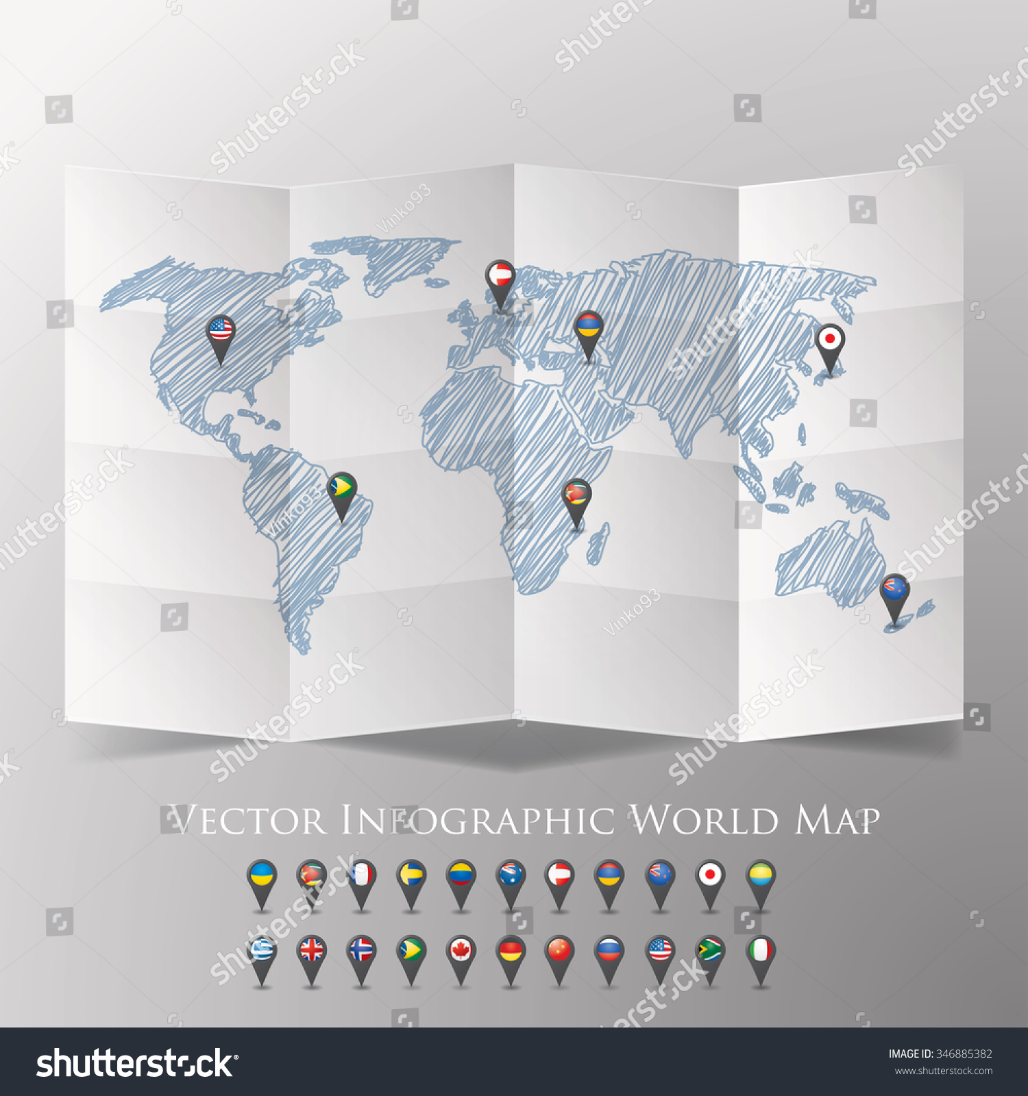 World map national flags vector illustration stock vector world map with national flags vector illustration gumiabroncs Images