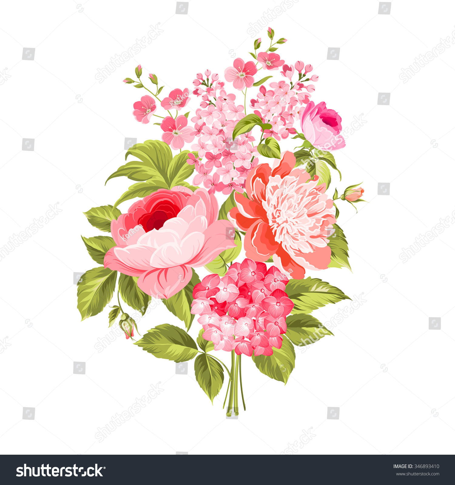 Spring Flowers Bouquet Of Color Bud Garland Vector Illustration