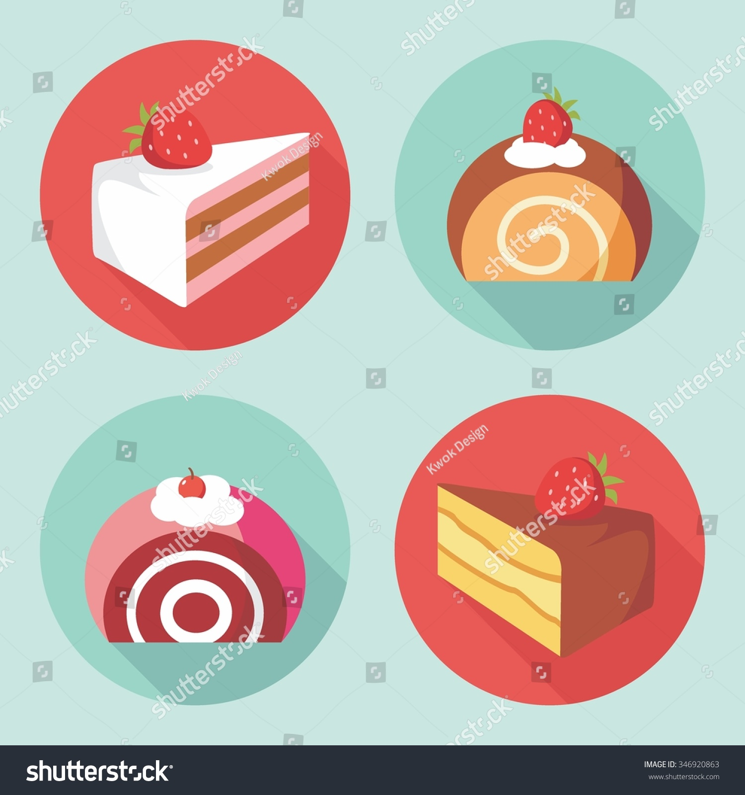 Vector Cake Roll Cake Flat Design Stock Vector Royalty Free 346920863