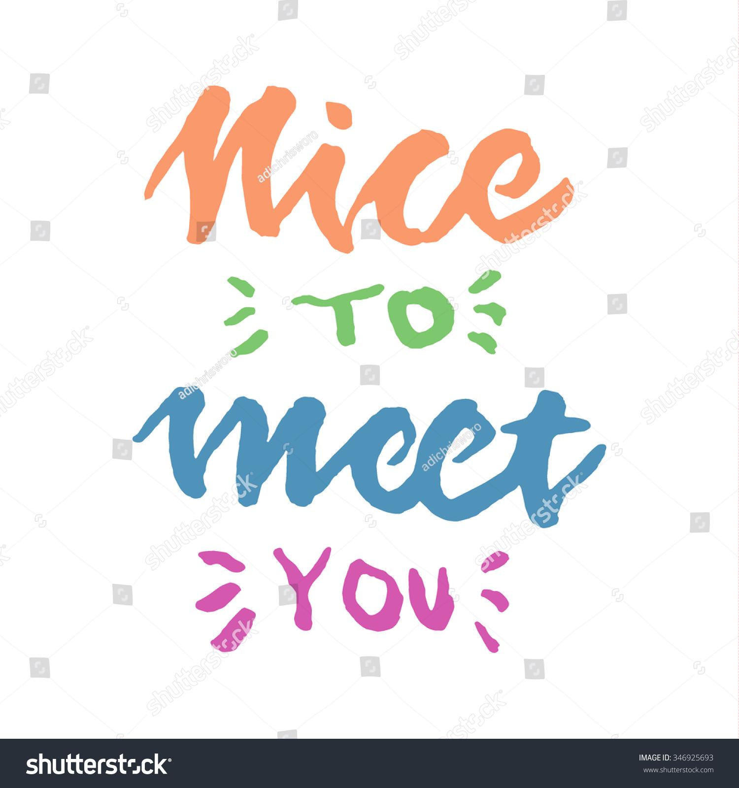 nice meet you hand lettering のベクター画像素材 ロイヤリティフリー