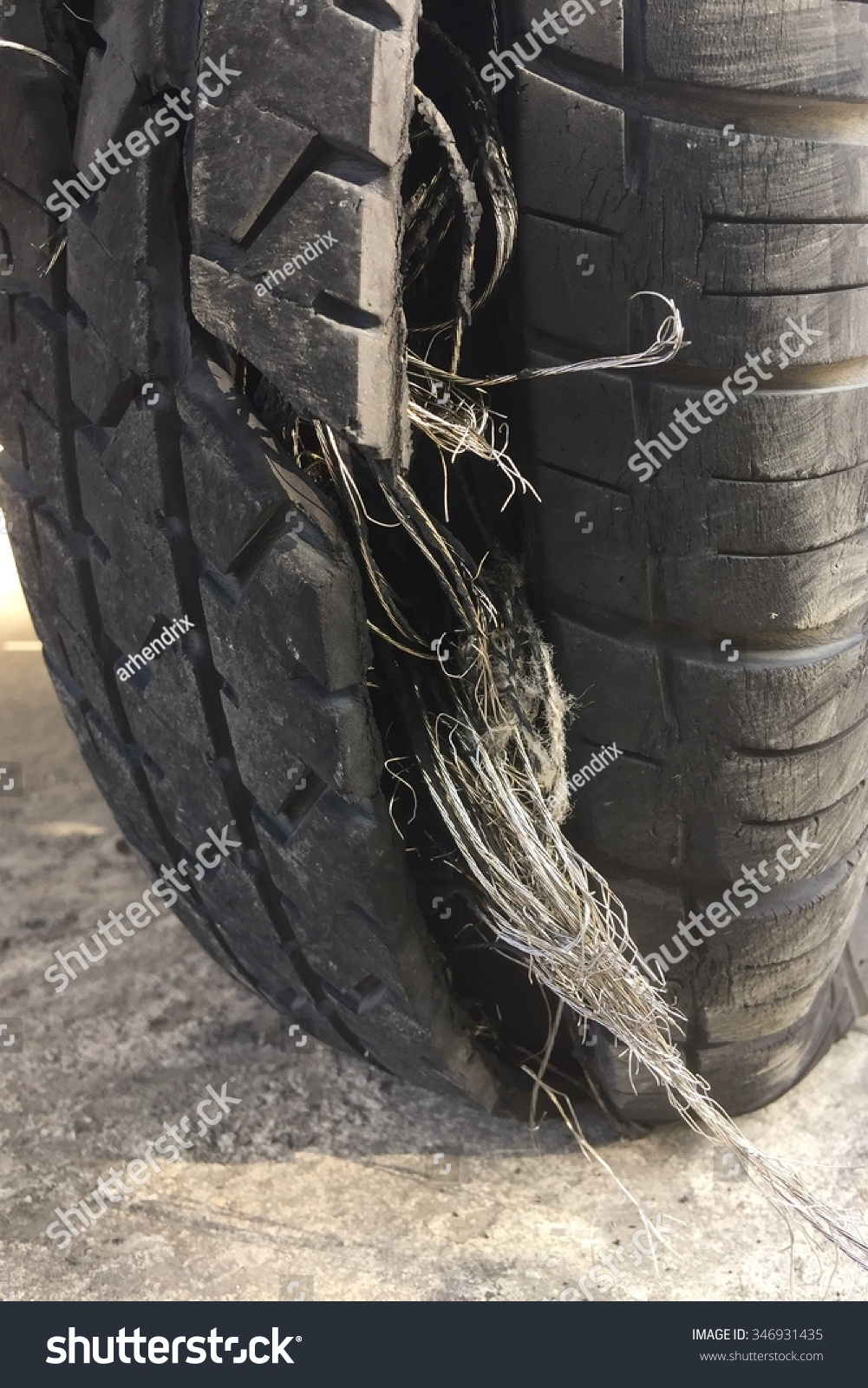 Damaged Tire After Tire Explosion High Stock Photo (Download Now ...
