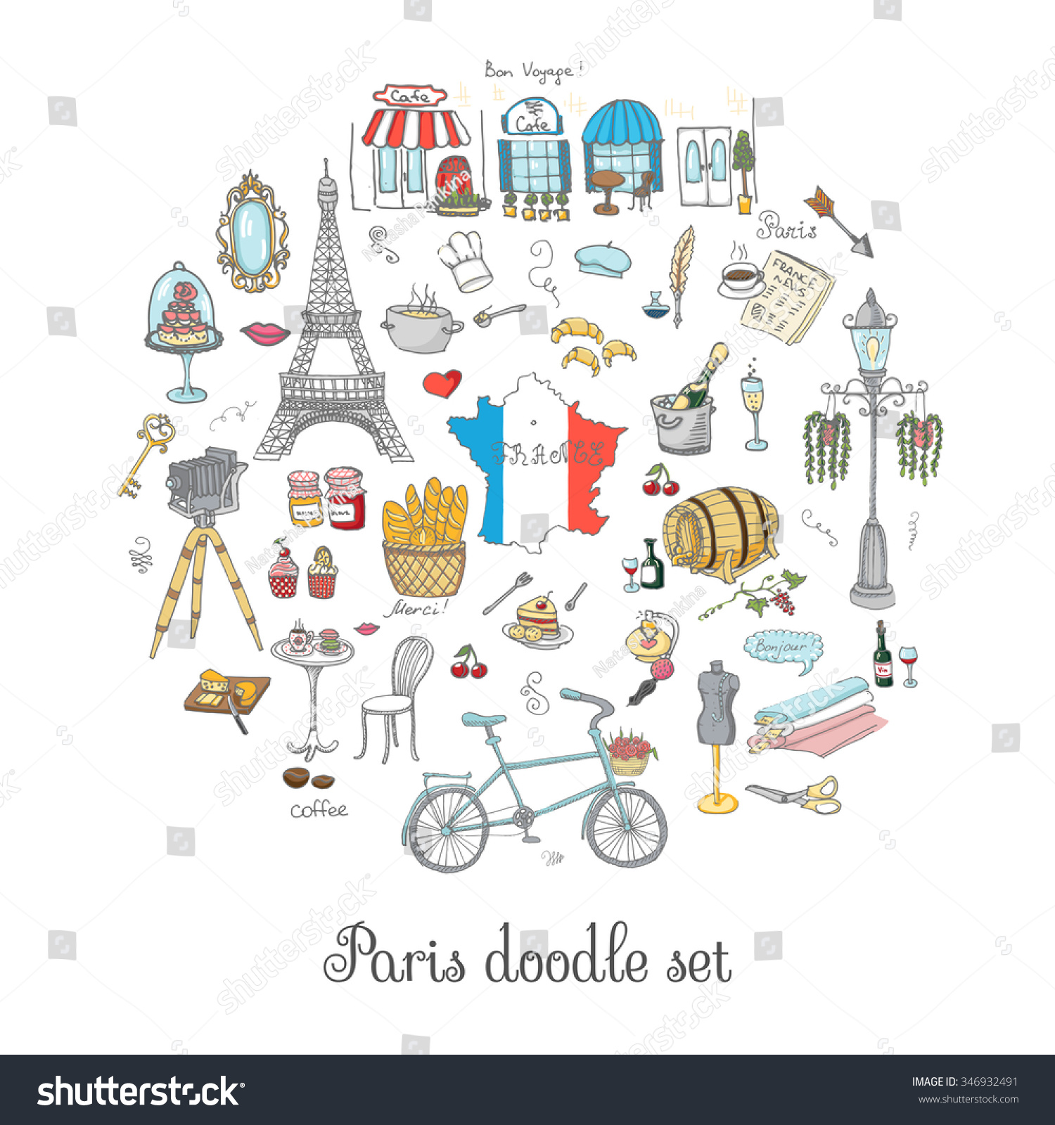set hand drawn french icons paris stock vector 346932491. Black Bedroom Furniture Sets. Home Design Ideas