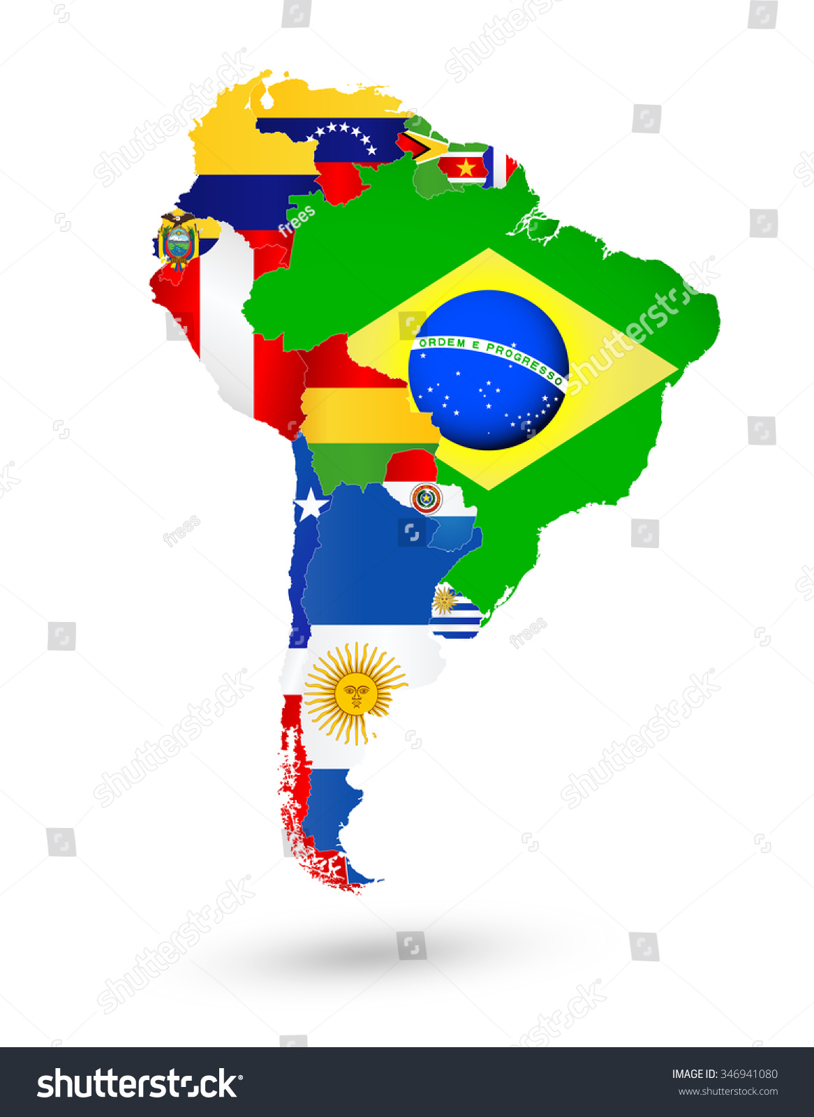 South america map flags location on stock vector 346941080 south america map with flags and location on world map gumiabroncs Image collections