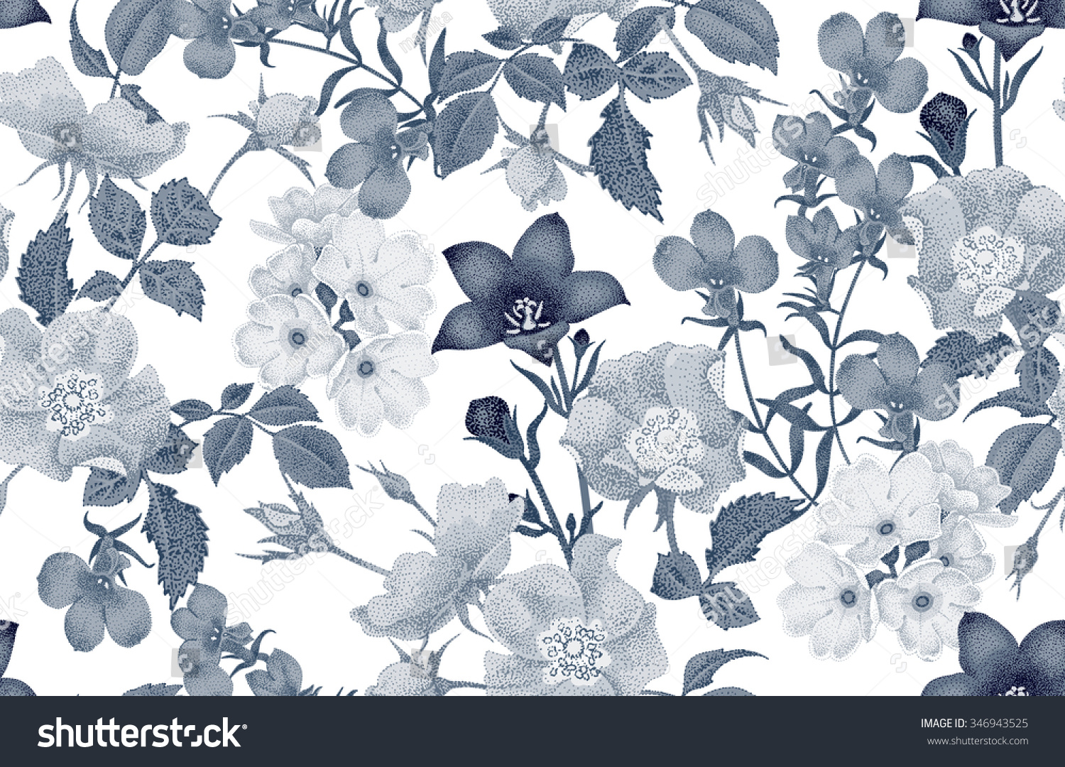 Vintage floral seamless background with blooming roses and garden flowers Vector pattern Black and white Illustration for use in interior design artwork dishes clothing packaging store windows