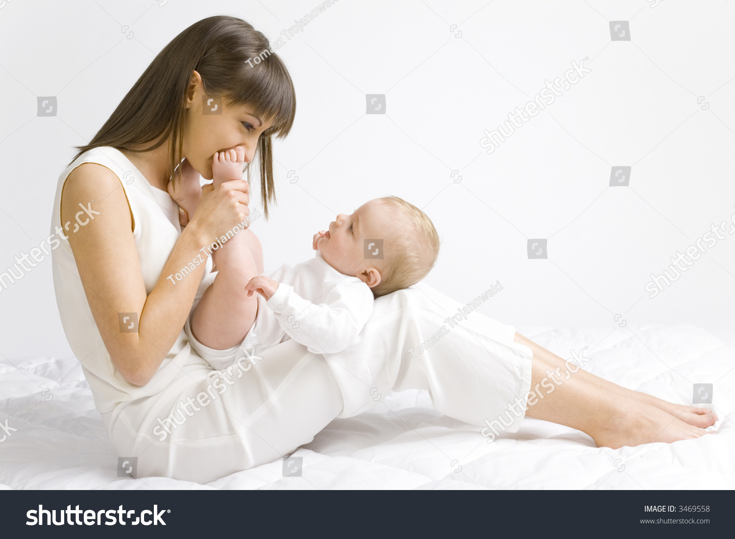 Young Mother Baby Boy Sitting On Stock Photo (Royalty Free) 3469558 ...