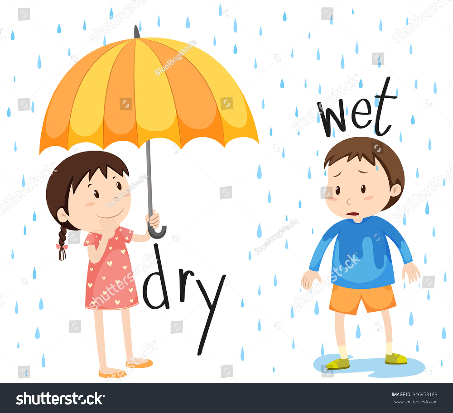 Worksheet Opposite Objects opposite adjective dry wet illustration stock vector 346958183 and illustration