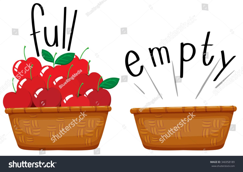 empty basket basket full apples illustration stock vector