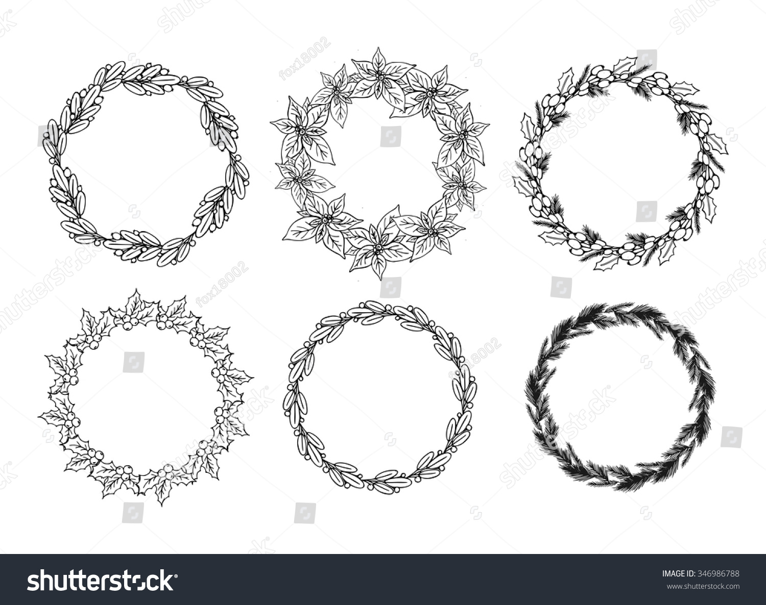 Vintage Hand Drawn Christmas Floral Wreath Stock Vector 346986788