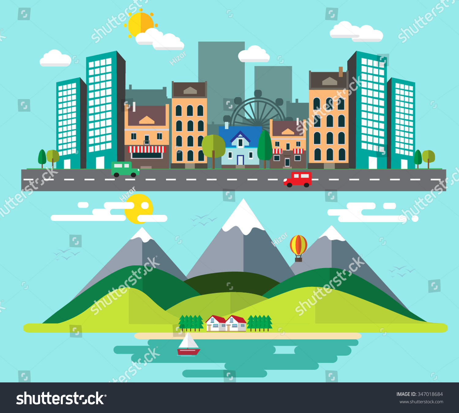 How Different Between Rural Places Urban Stock Vector