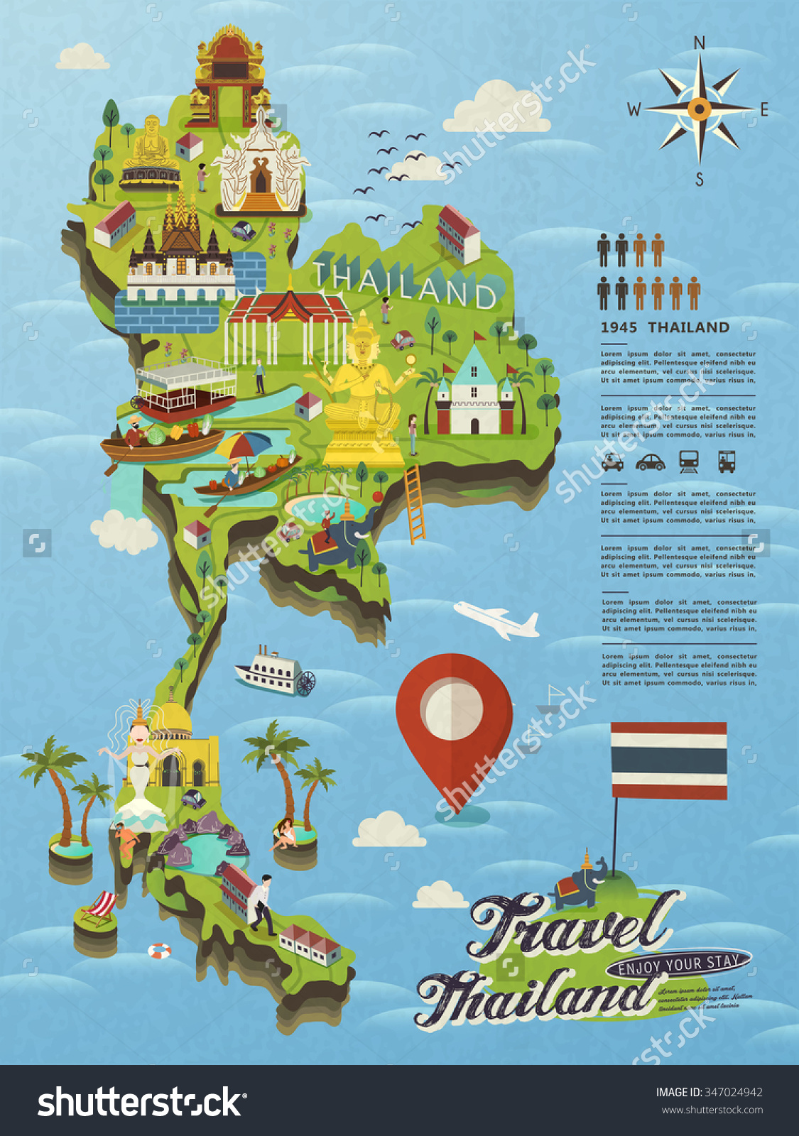 Attractive Thailand Travel Concept Map Flat Vector 347024942 – Thailand Tourist Attractions Map