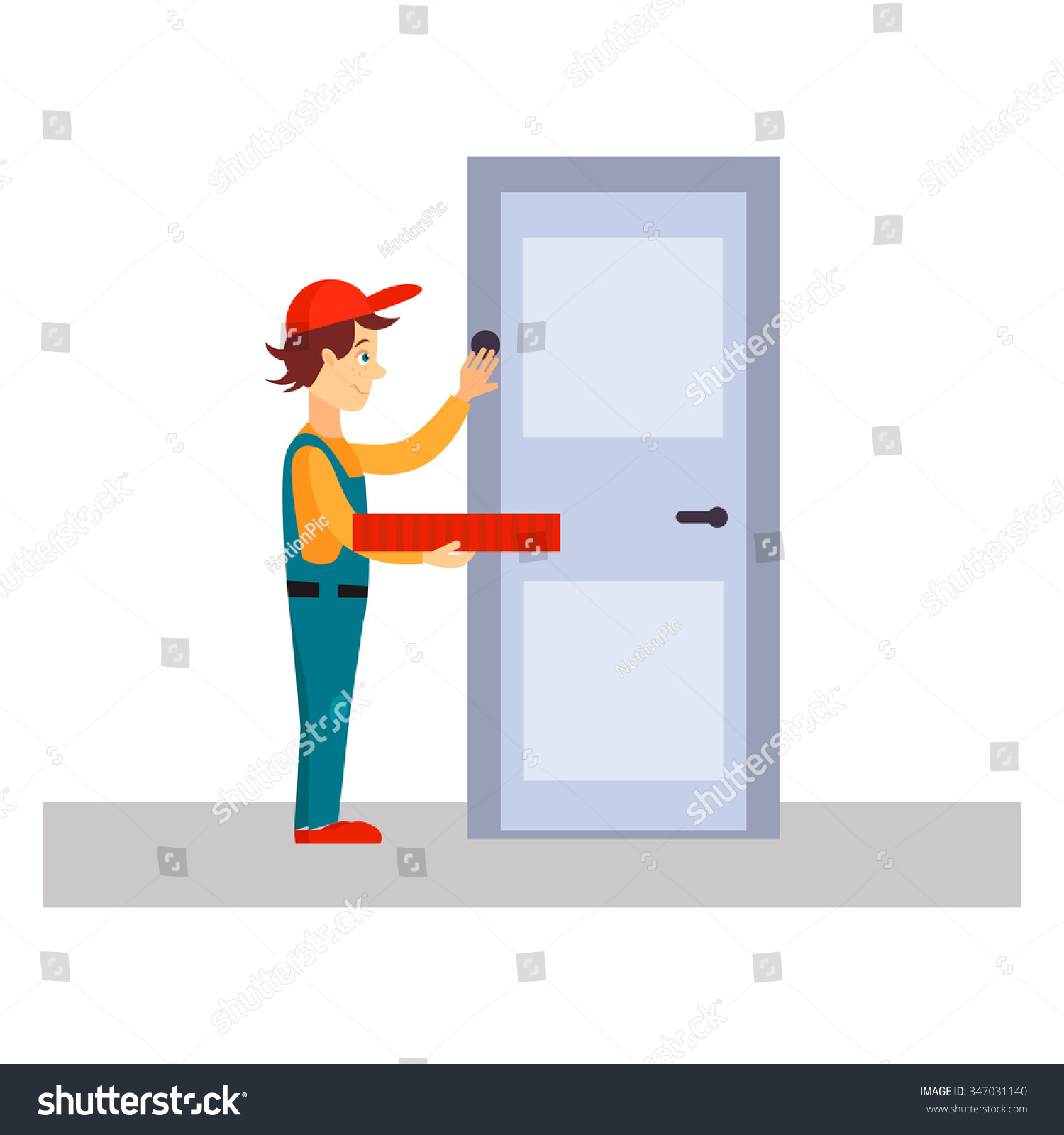 Delivery Man Knocking at Door Flat Vector Illustration