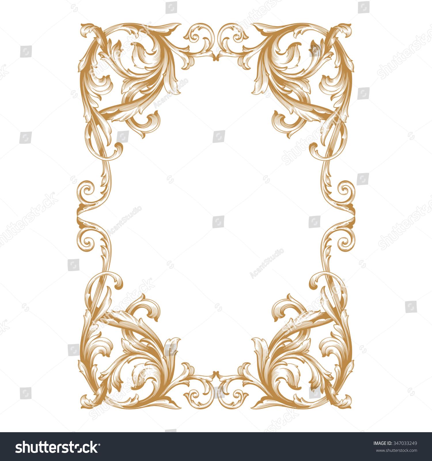 Premium Gold Vintage Baroque Frame Scroll Stock Vector ...