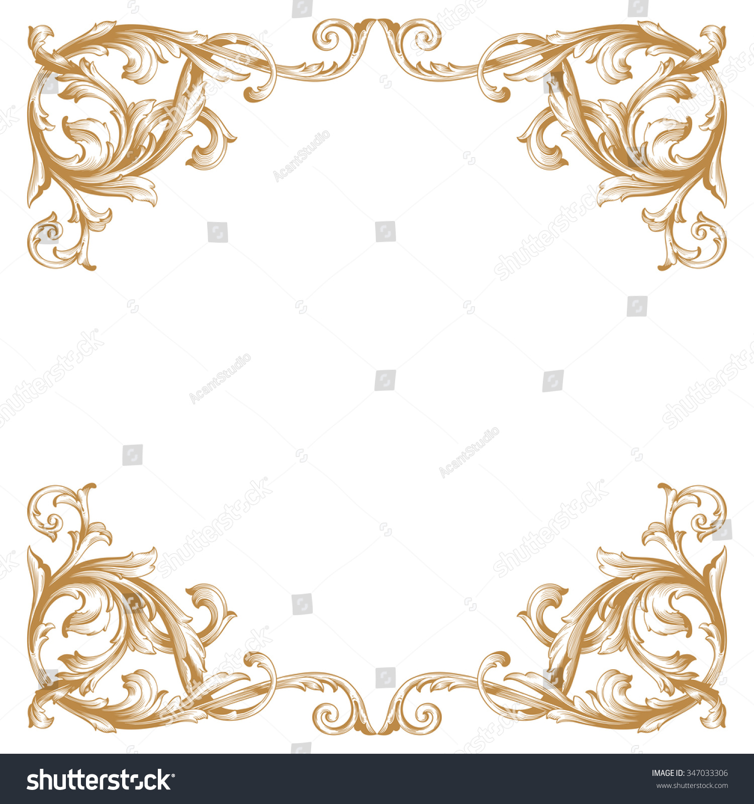 Premium Gold Vintage Baroque Frame Scroll Stock Vector