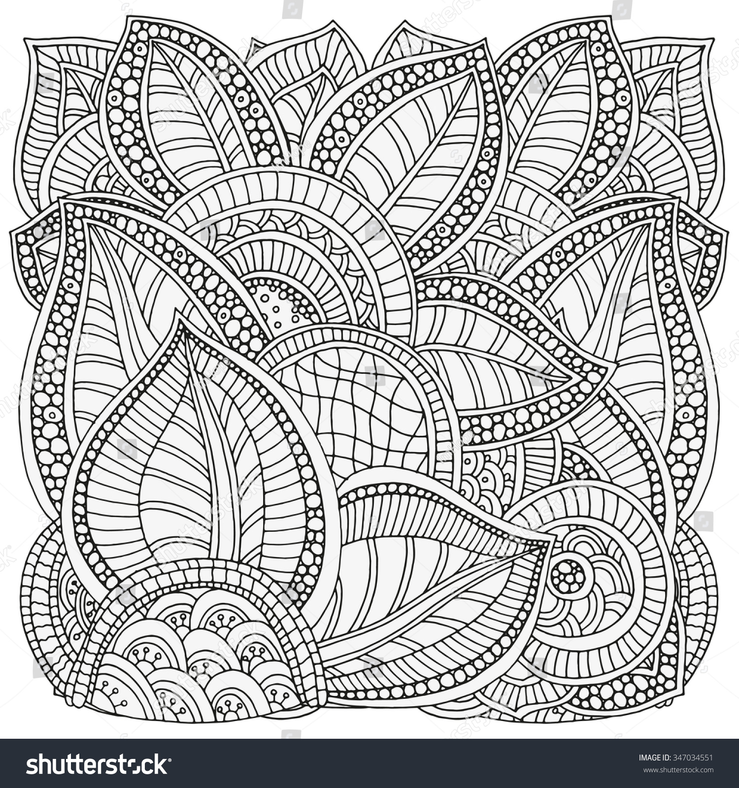 Pattern Coloring Book Ethnic Floral Retro Stock Vector