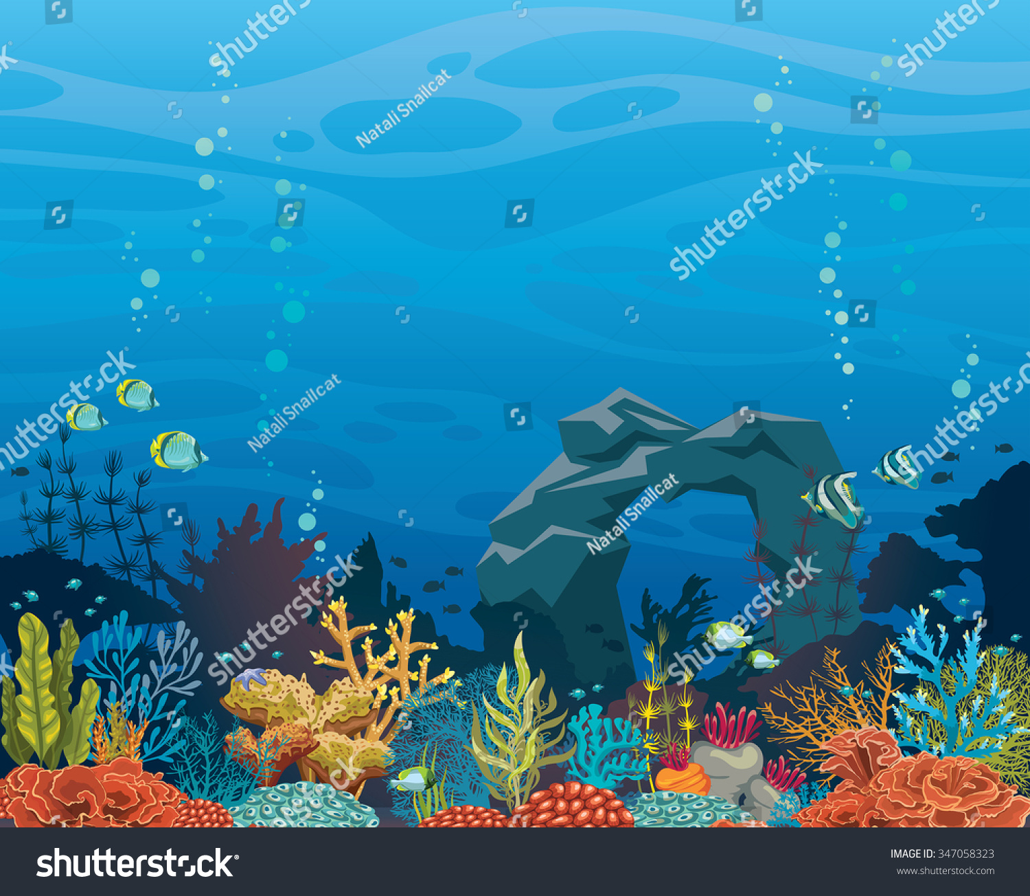 Coral Reef Background: Colorful Coral Reef Fish Stone Arch Stock Vector 347058323