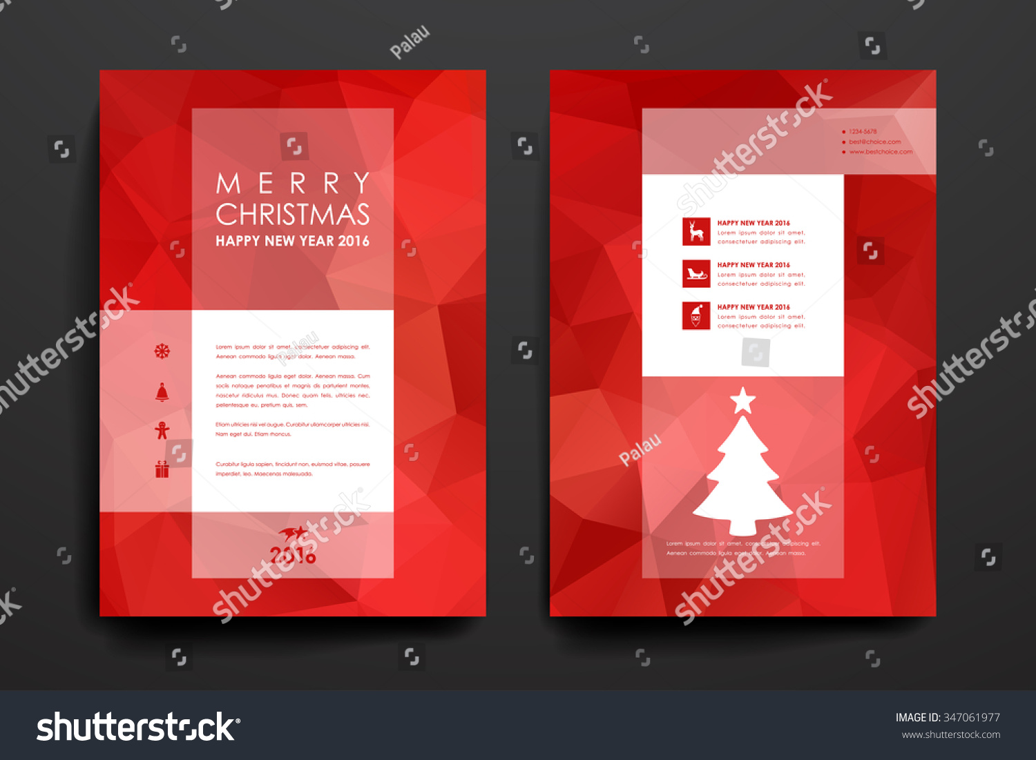Set of brochure poster templates in Christmas style Beautiful design and layout