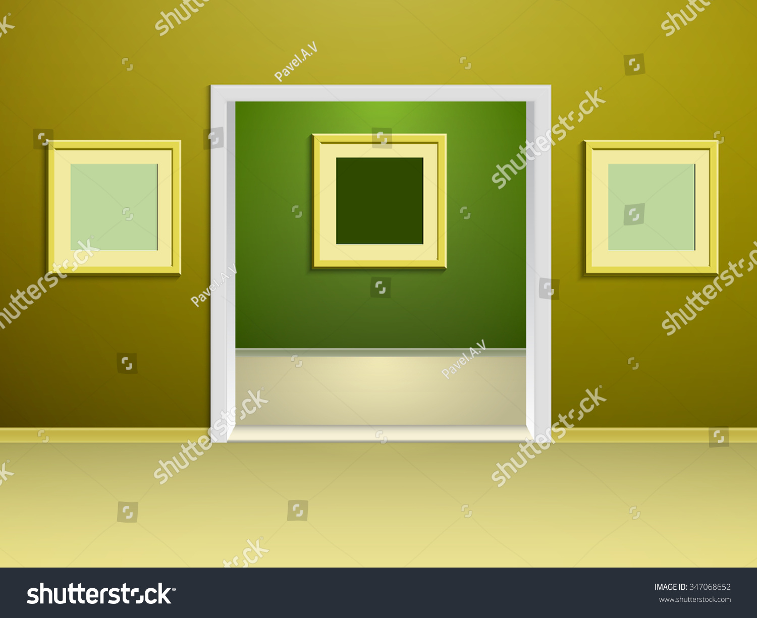 Two Rooms Gallery Yellow Green Walls Stock Vector 347068652 ...