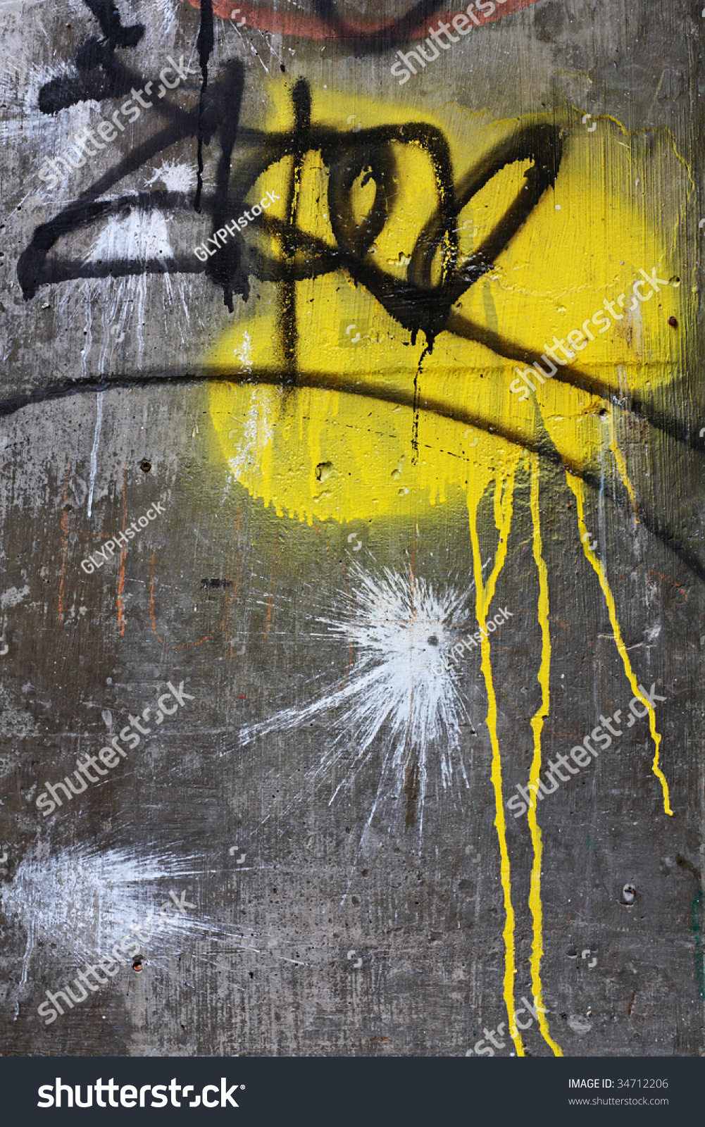 Yellow Spray Paint On Concrete Wall Stock Photo 34712206 - Shutterstock