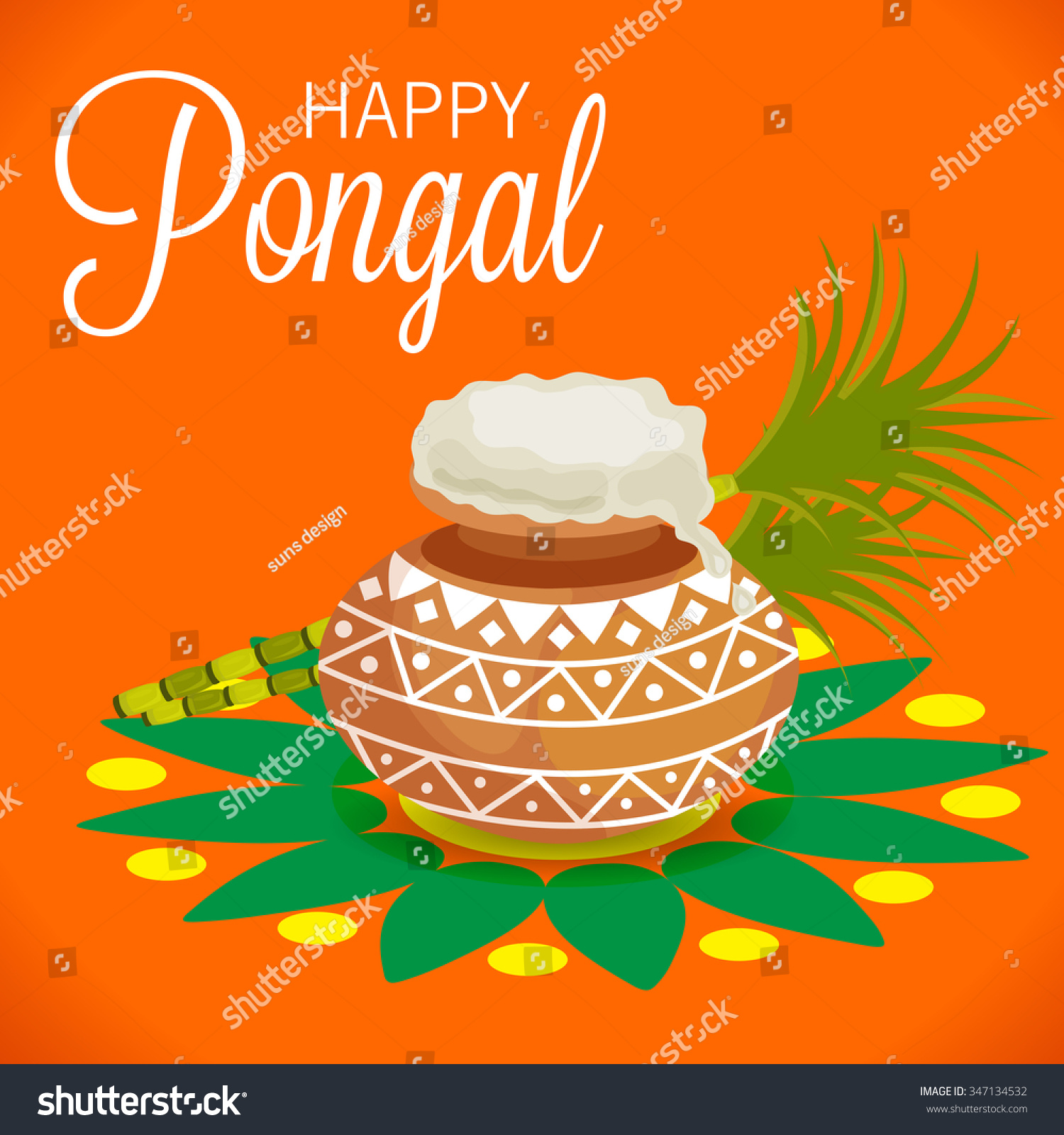 Vector Illustration Happy Pongal Greeting Card Stock Vector