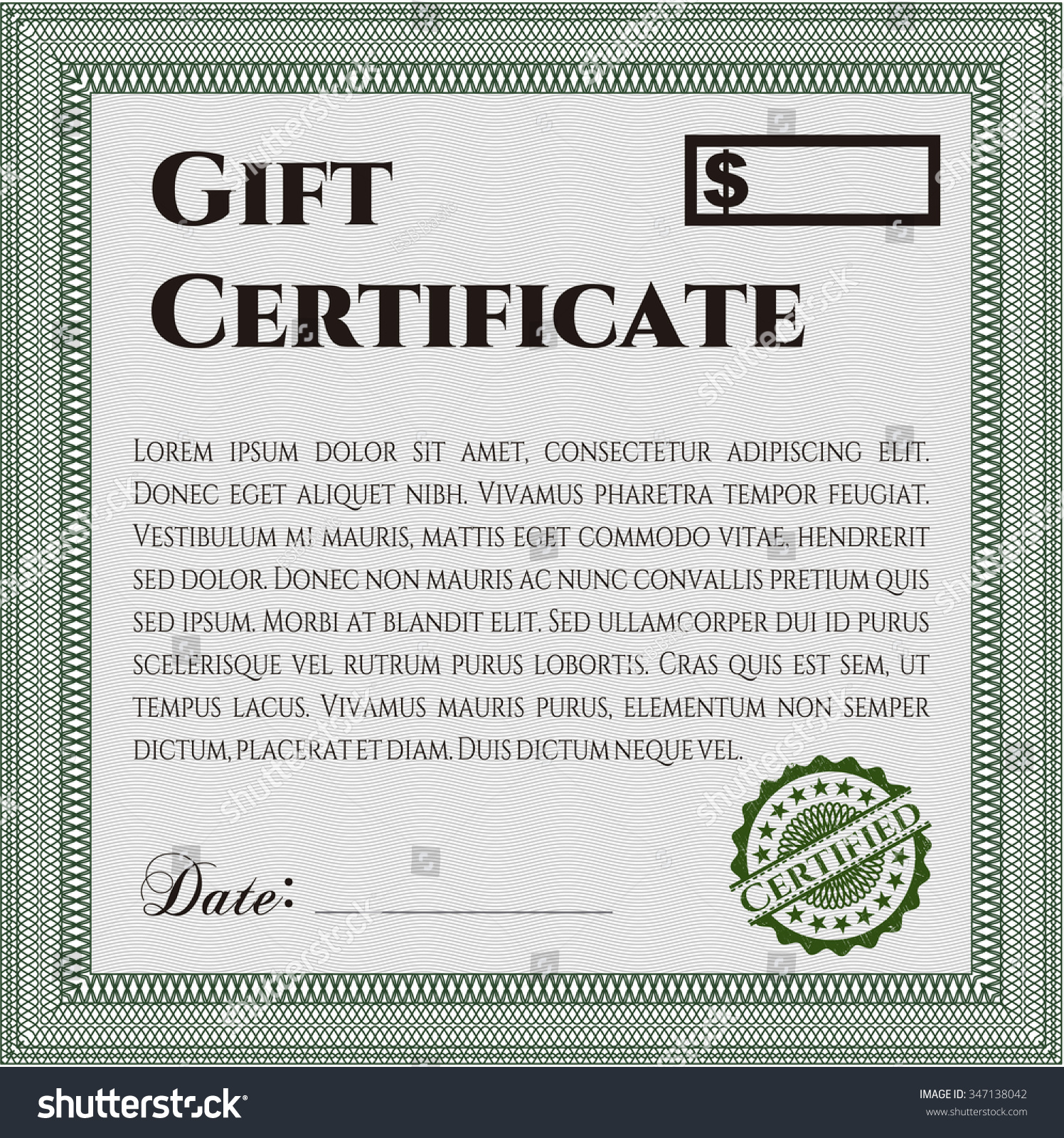 Formal Gift Certificate Template Border Frame With Stock Vector
