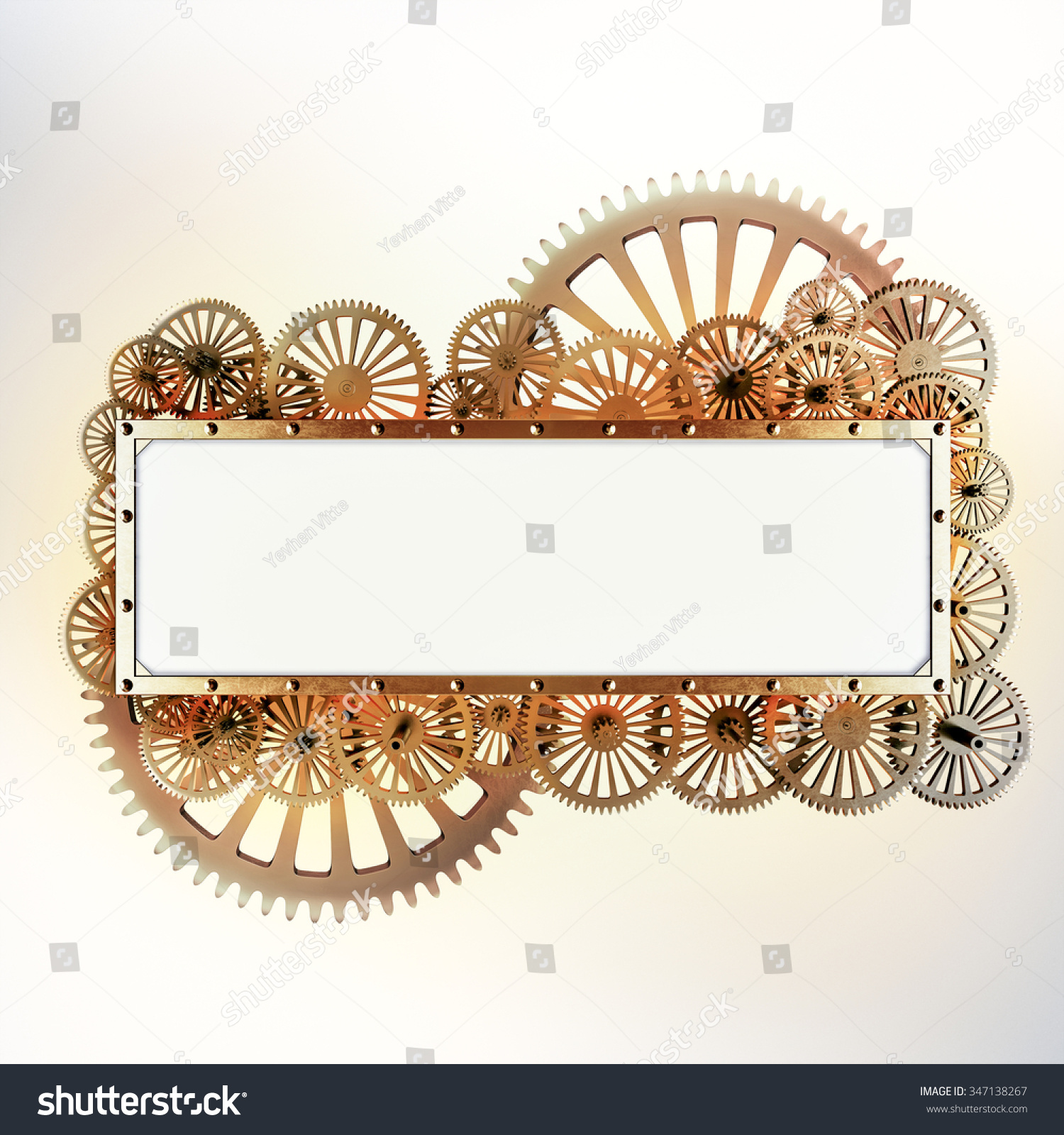 Stylized Gold Mechanical Gears Steampunk Collage  Made Of