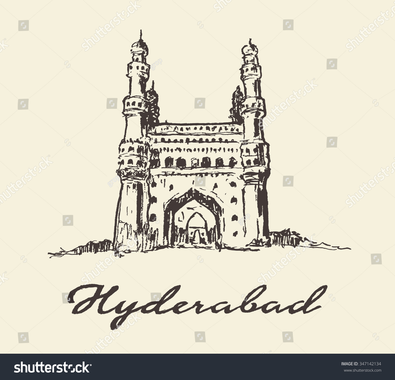 Hyderabad India Charminar vector illustration hand drawn sketch