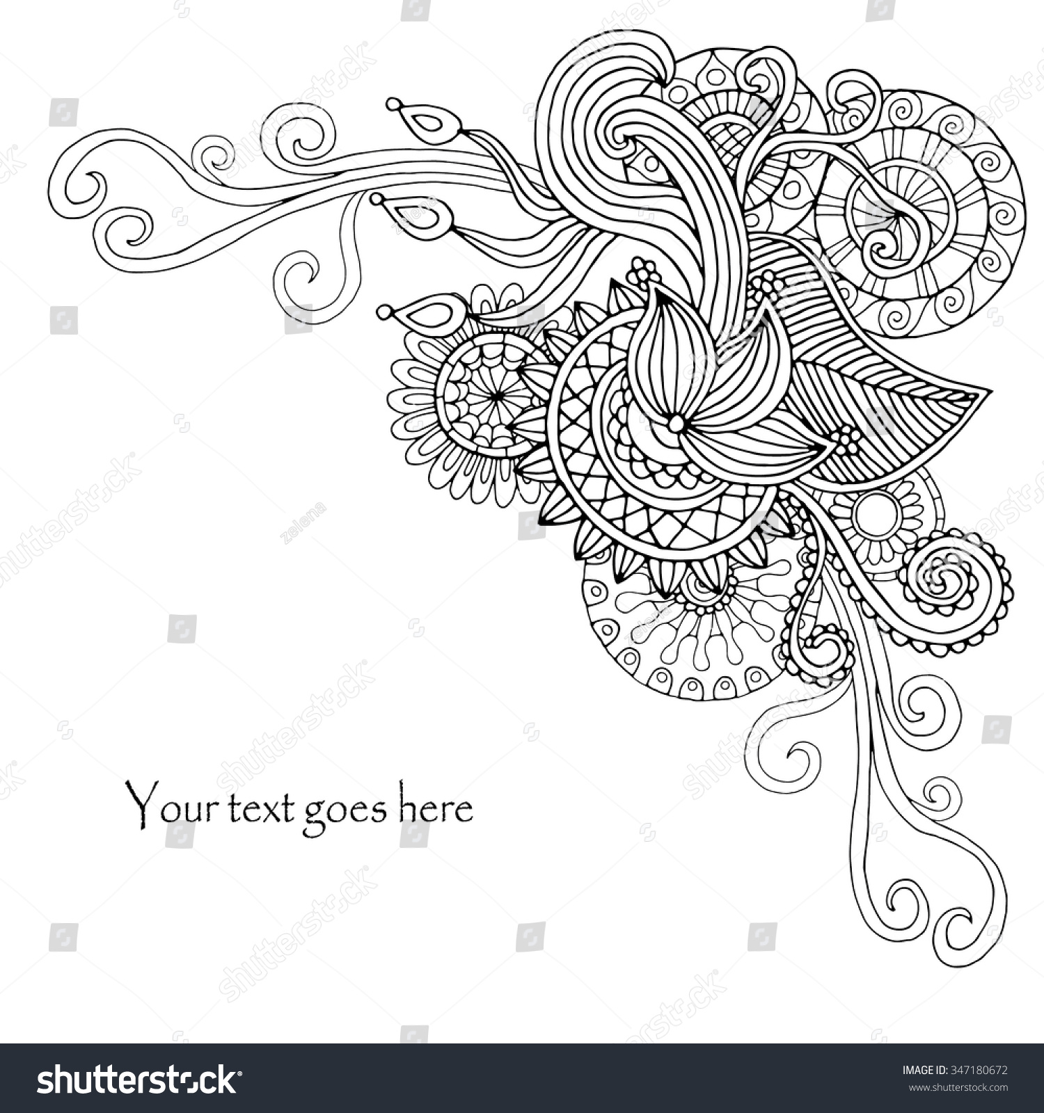 Template poster with doodle flowers and paisley for your business ...