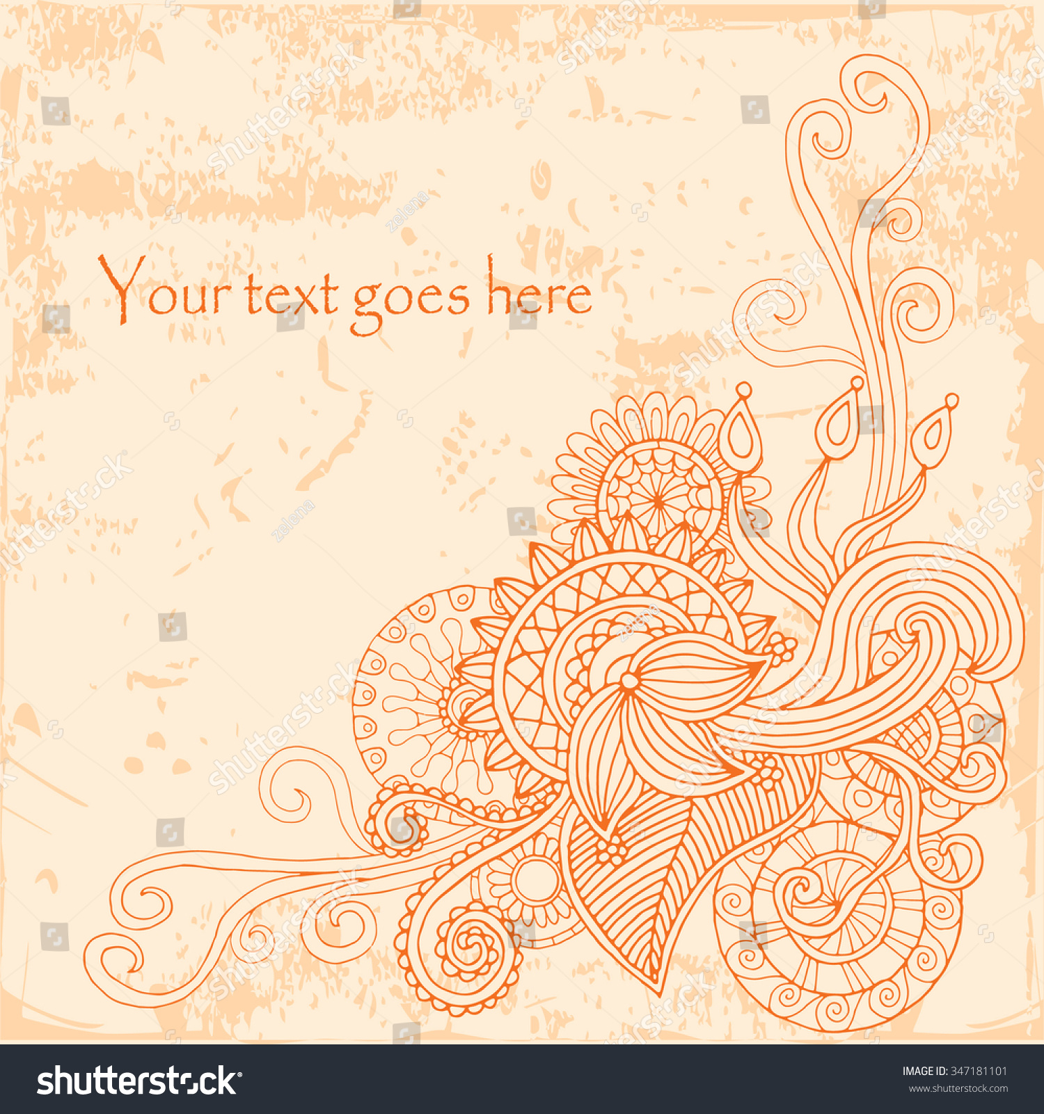 Template poster doodle flowers paisley your stock vector 347181101 template poster with doodle flowers and paisley for your business vector abstract background for invitations magicingreecefo Images