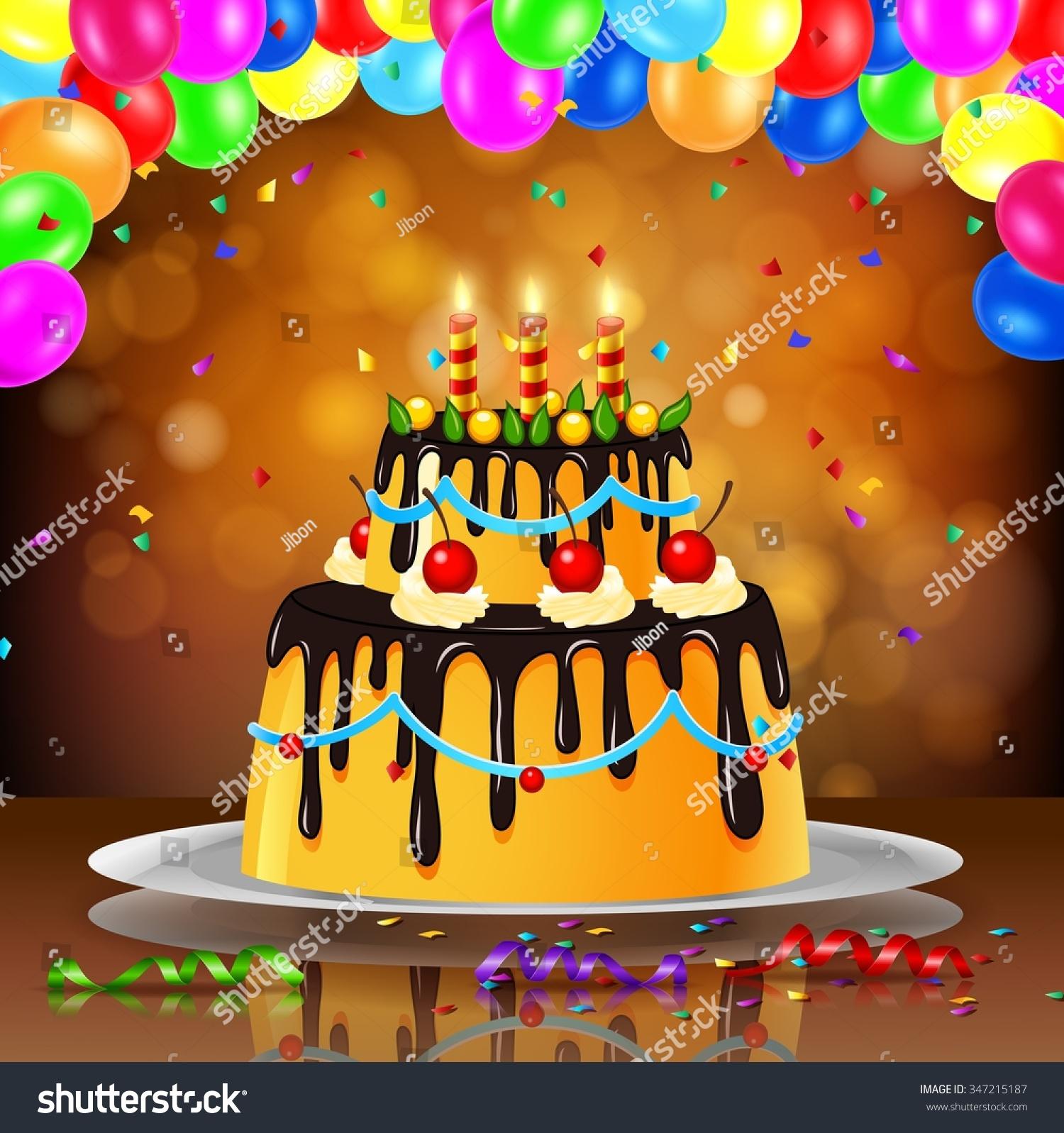 Beautiful Happy Birthday Cake On Artistic Stock Illustration