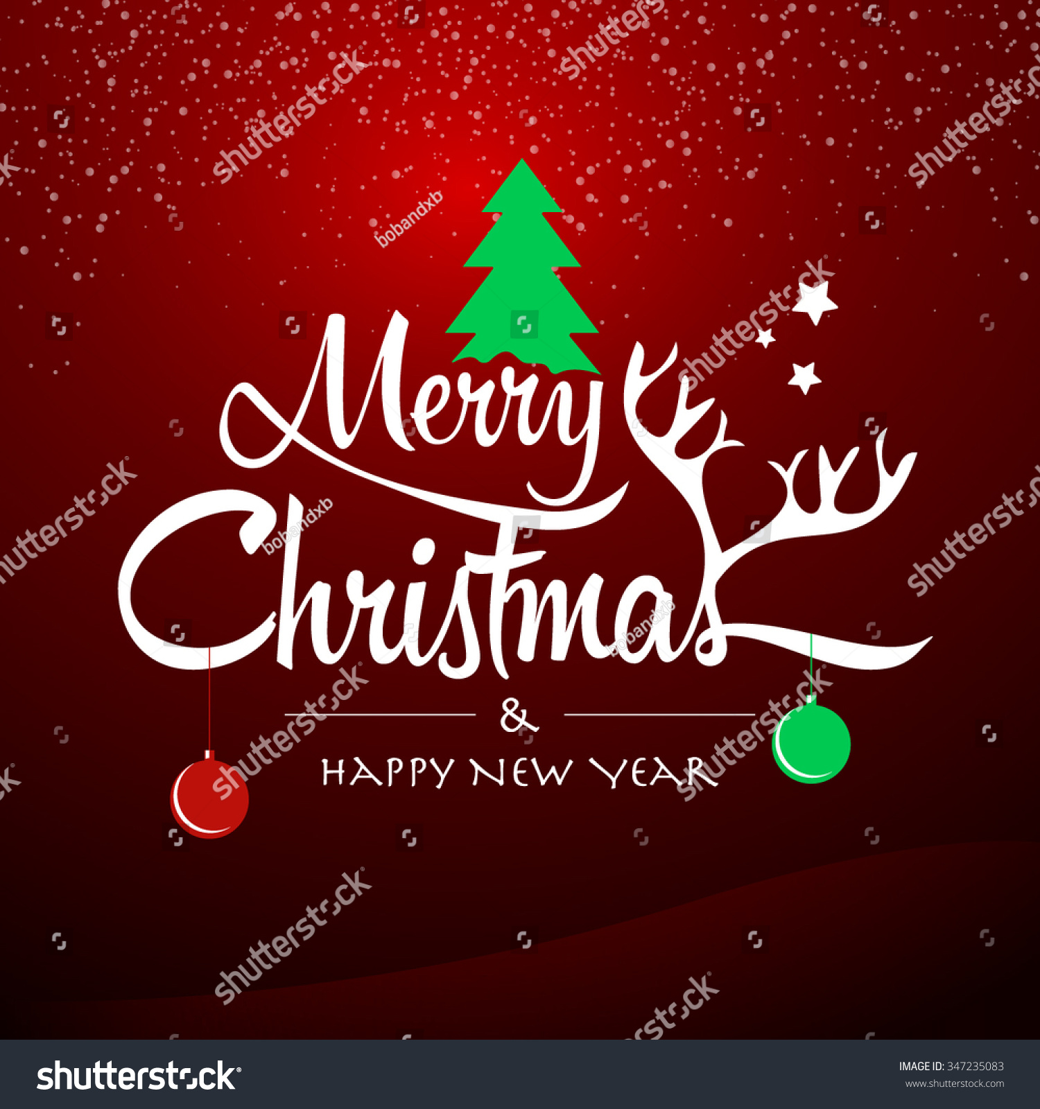 Merry Christmas Happy New Year Happy Stock Vector (Royalty Free ...