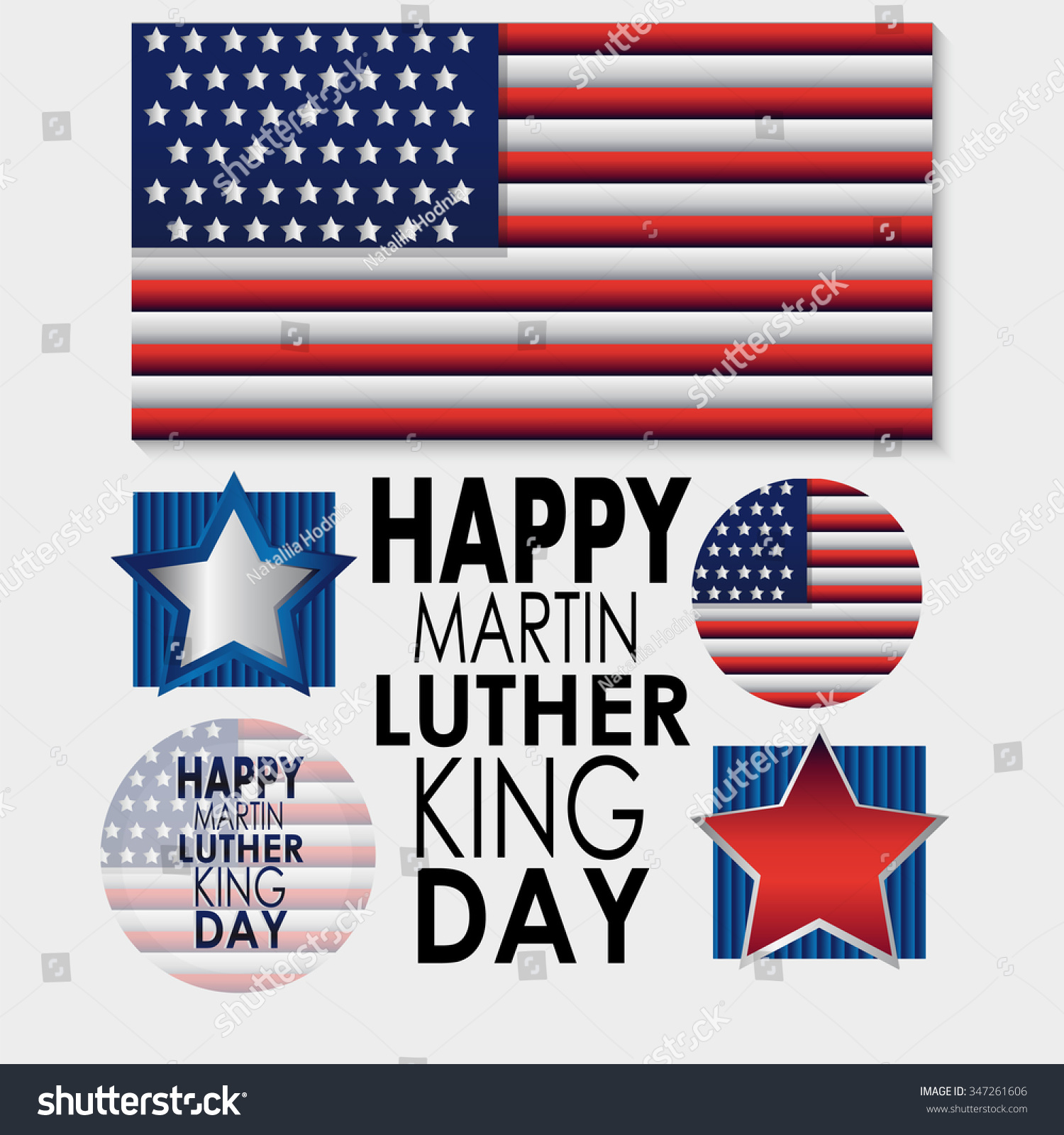 Happy Martin Luther King Day American Flag Stock Vector Royalty